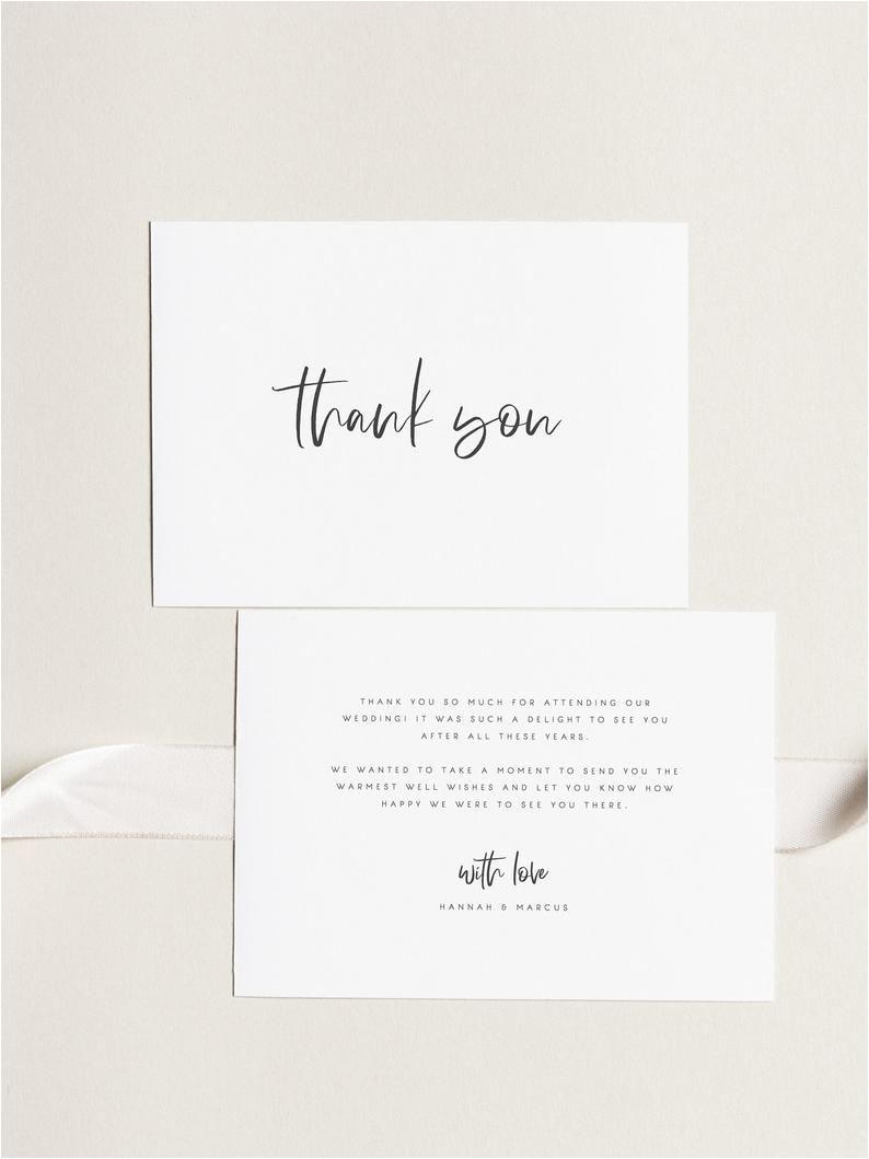 Thank You Card Envelope Size Printable Thank You Card Wedding Thank You Cards Instant