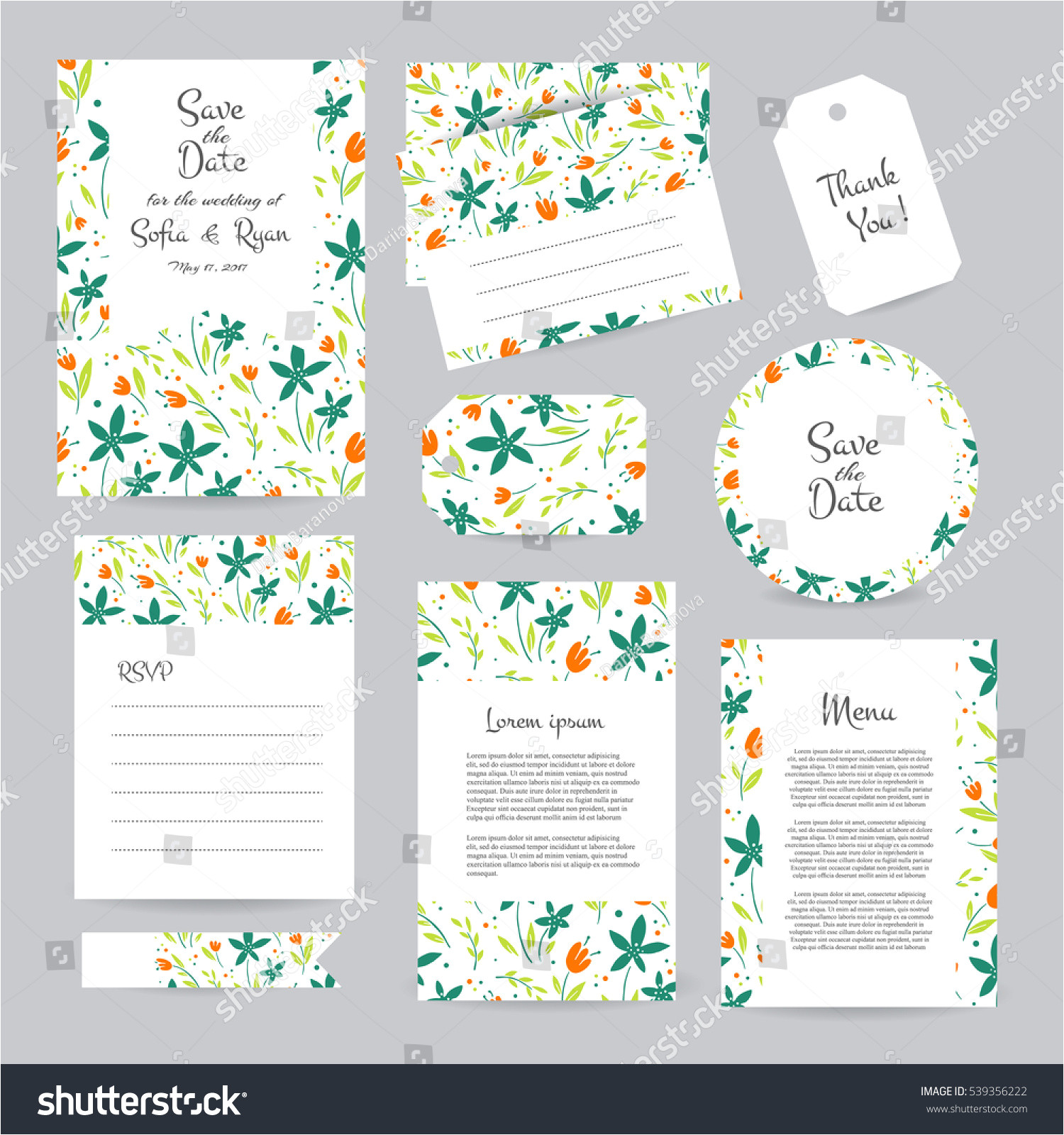 stock vector vector gentle wedding cards template with flower design wedding invitation or save the date rsvp 539356222 jpg