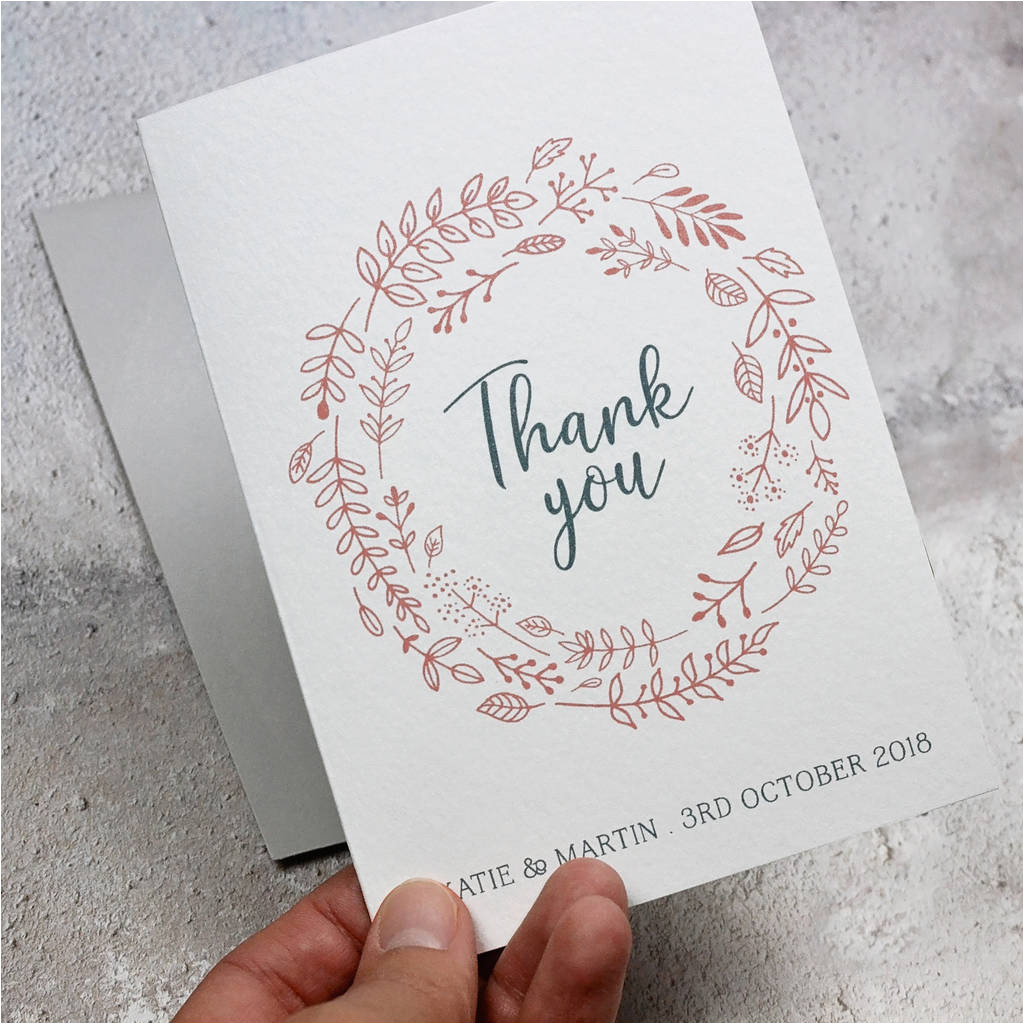 Thank You Card Hong Kong Personalised Simple Foliage Thank You Card