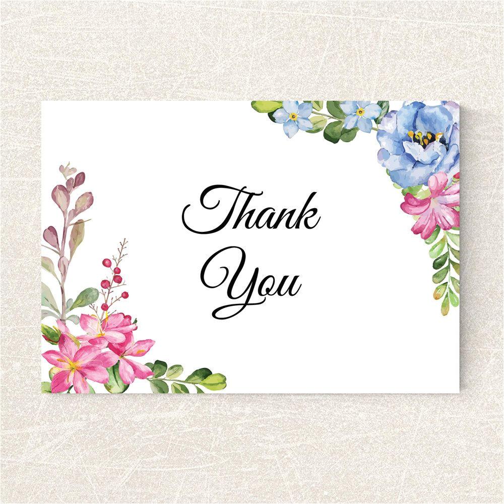 Thank You Card Ideas Wedding Wedding Thank You Card Printable Floral Thank You Card