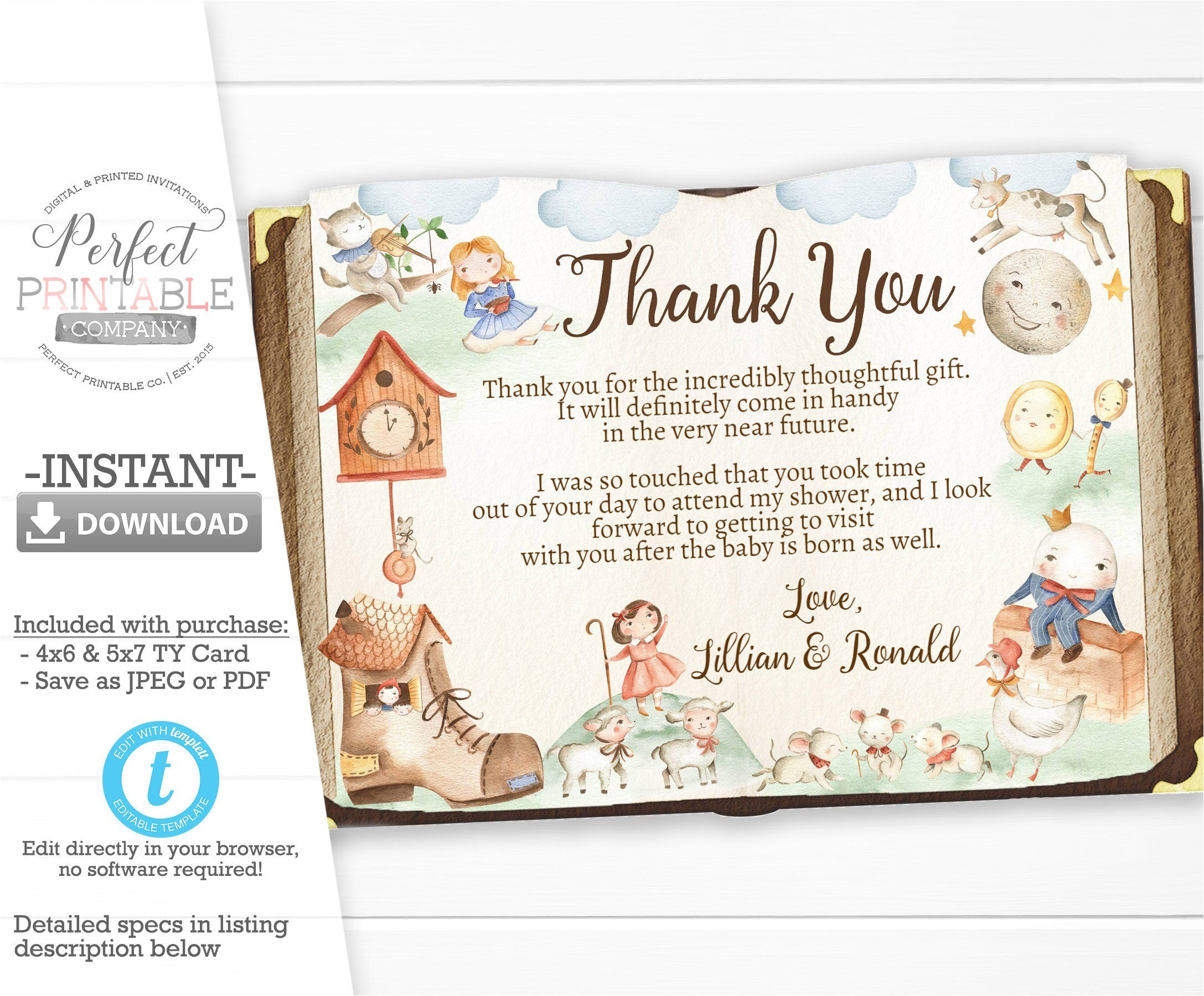 Thank You Card On Birthday Nursery Rhyme Baby Shower Thank You Card Mother Goose Thank