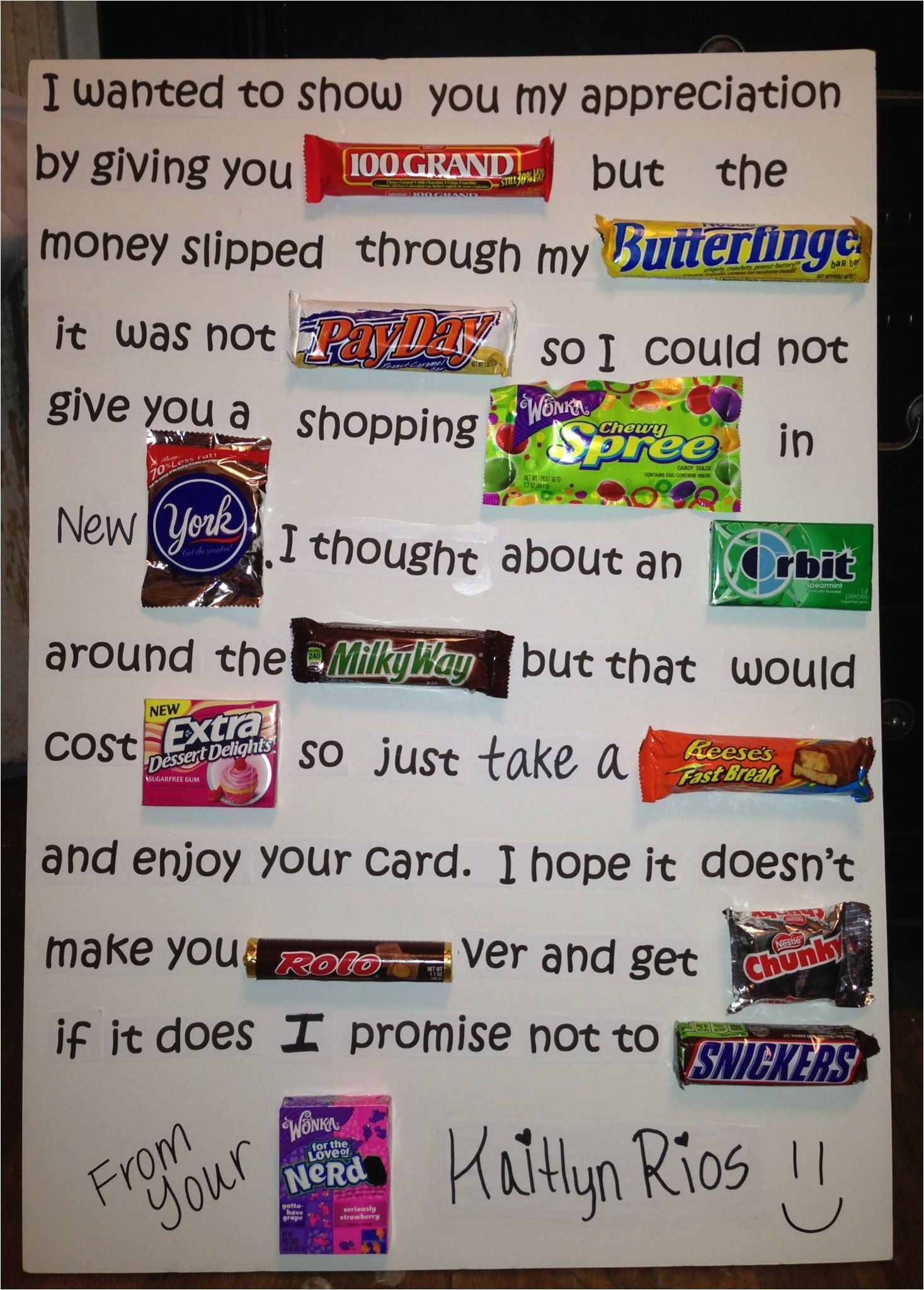 Thank You Card Using Candy Bars Candy Inspired Teacher Appreciation Poem Maybe Have