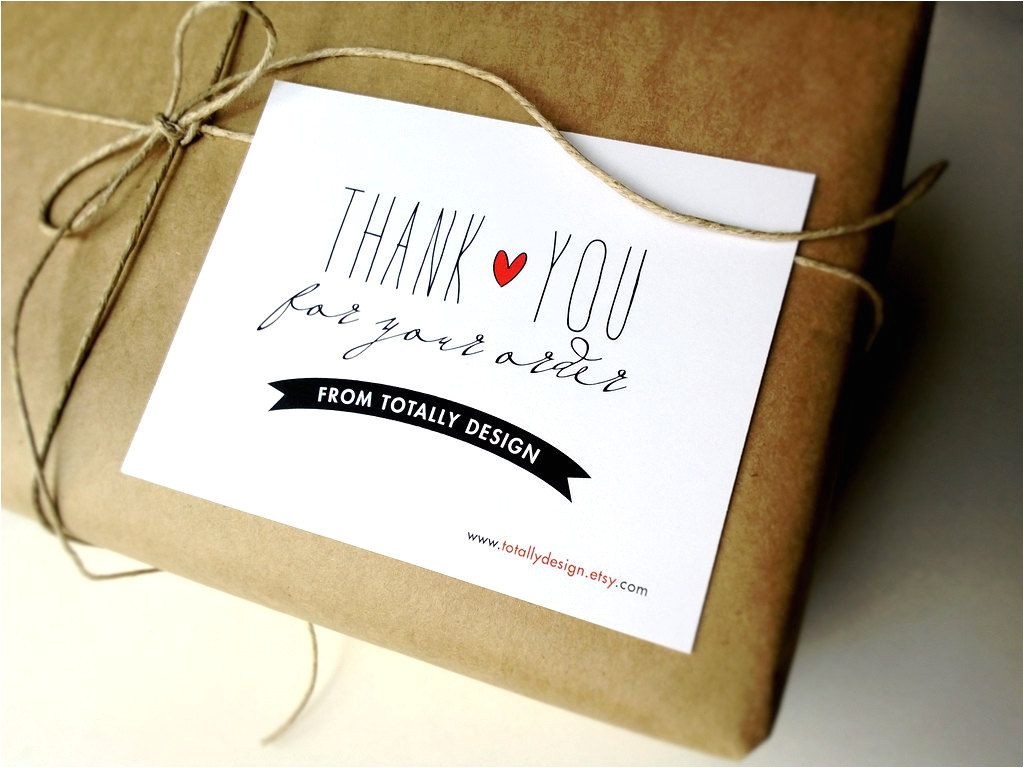 Thank You for Your Purchase Card Artsy Thank You for Your order Cards Custom by totallydesign