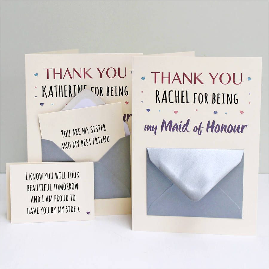 Thank You Gift Card Message Maid Of Honour Thank You Secret Messages Card with Images