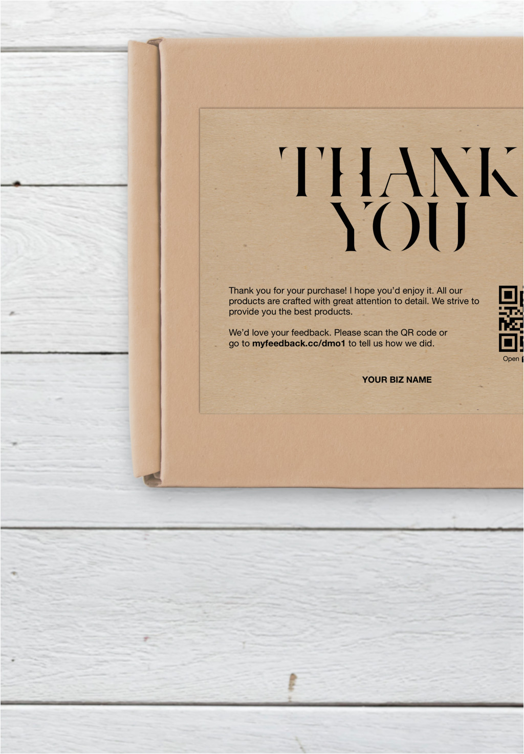 Thank You On A Card Business Thank You Card Thank You for Your Purchase