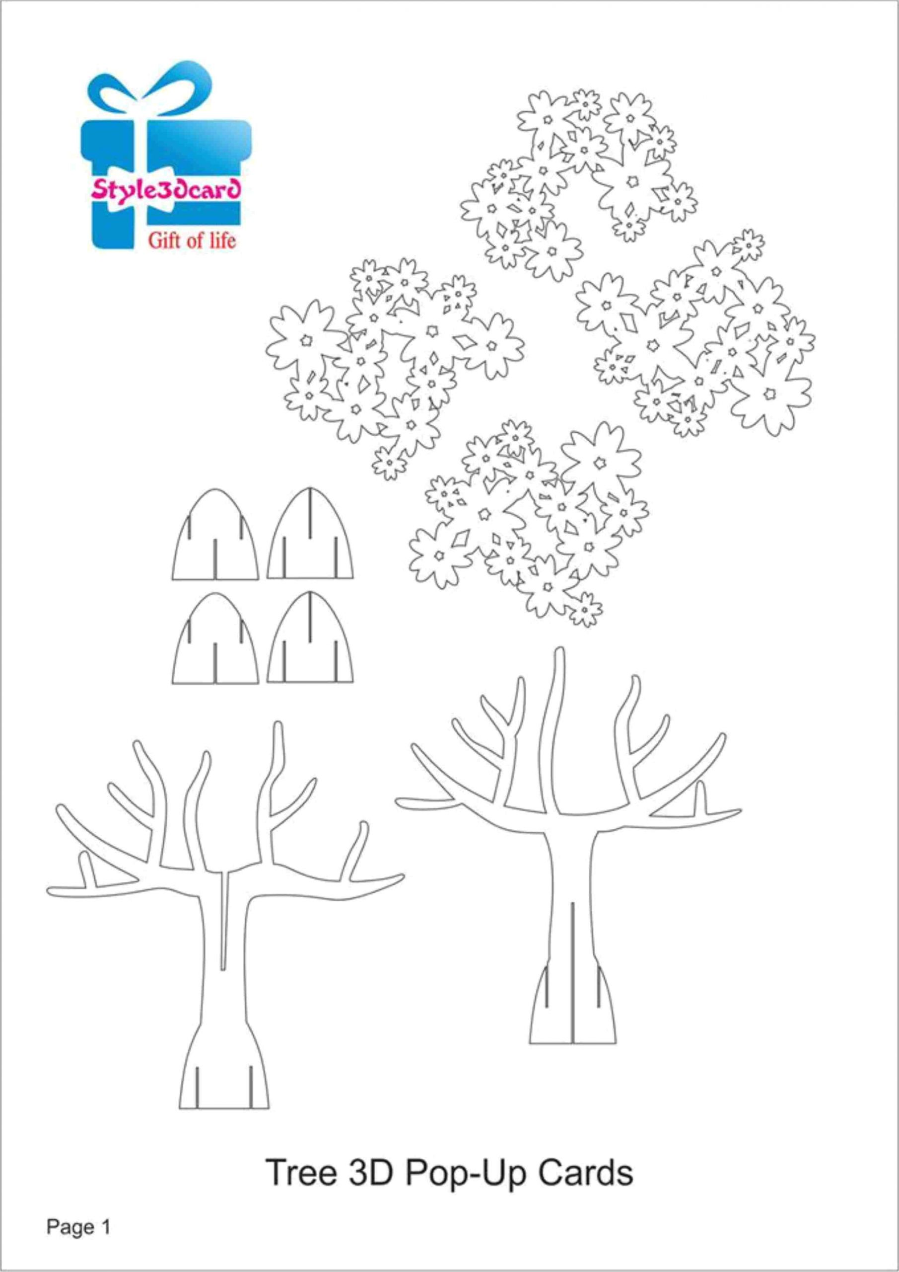 Thank You Pop Up Card Tree 3d Pop Up Card Kirigami Pattern 1 Pop Up Vorlagen