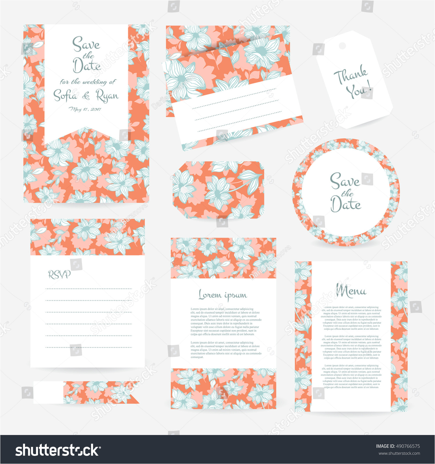 stock vector vector gentle wedding cards template with flower design wedding invitation or save the date rsvp 490766575 jpg