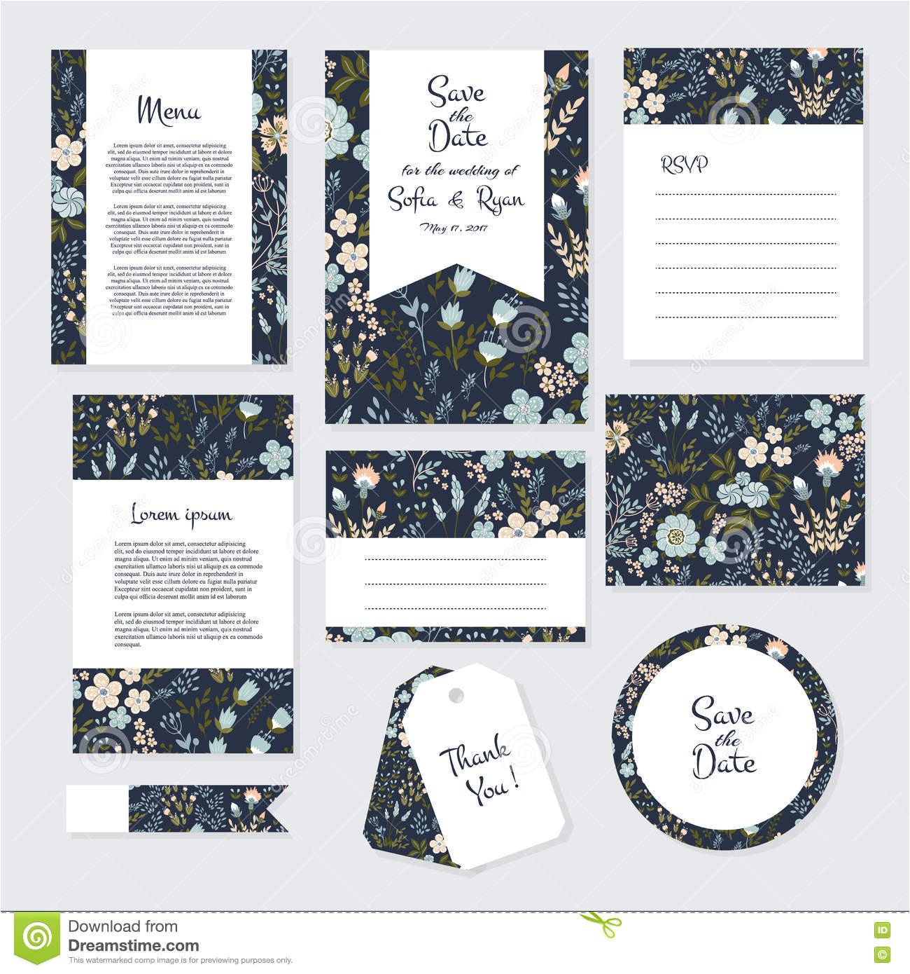 vector gentle wedding cards template flower design invitation save date rsvp menu thank you card 79168976 jpg