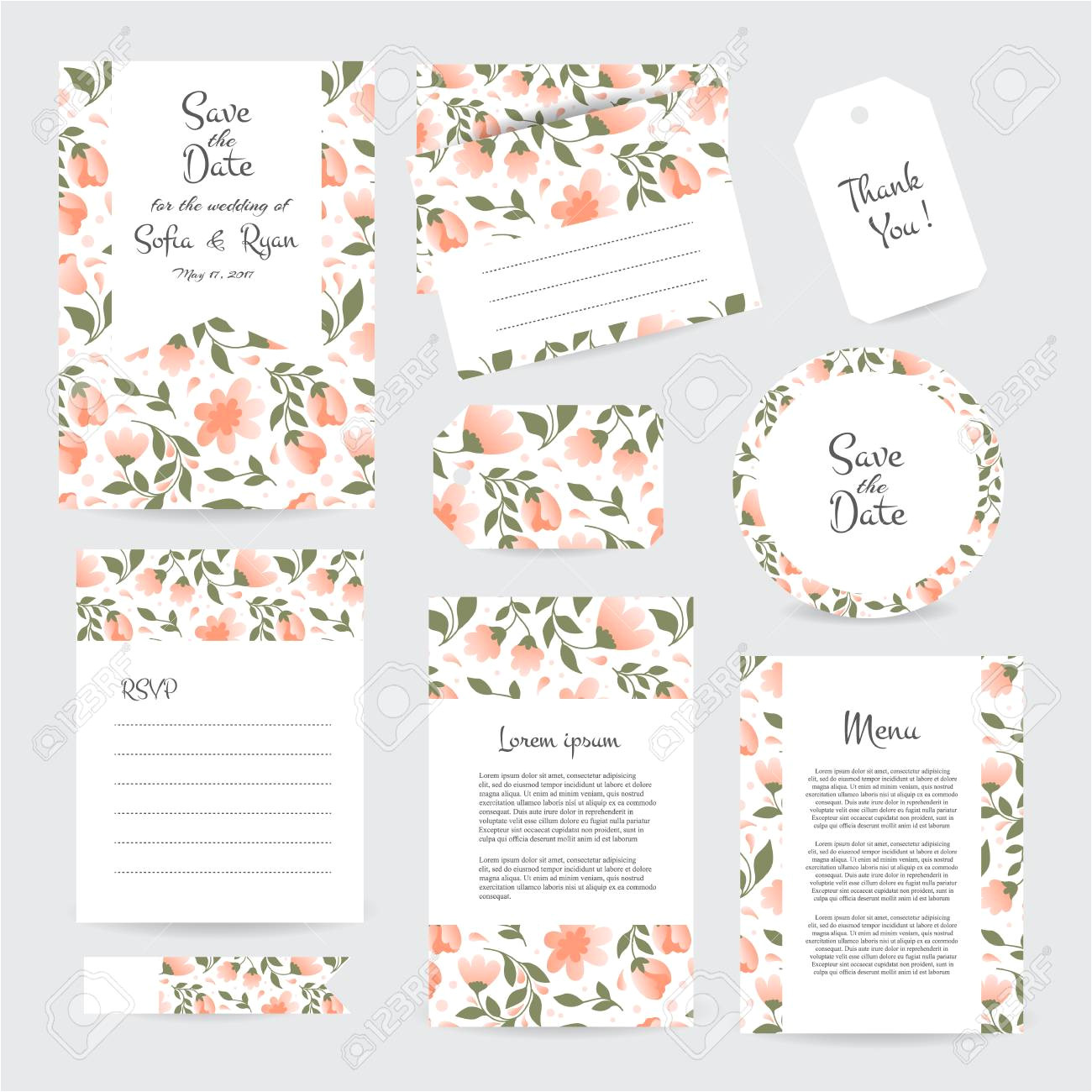 120958313 vector gentle wedding cards template with flower design invitation or save the date rsvp menu and th jpg