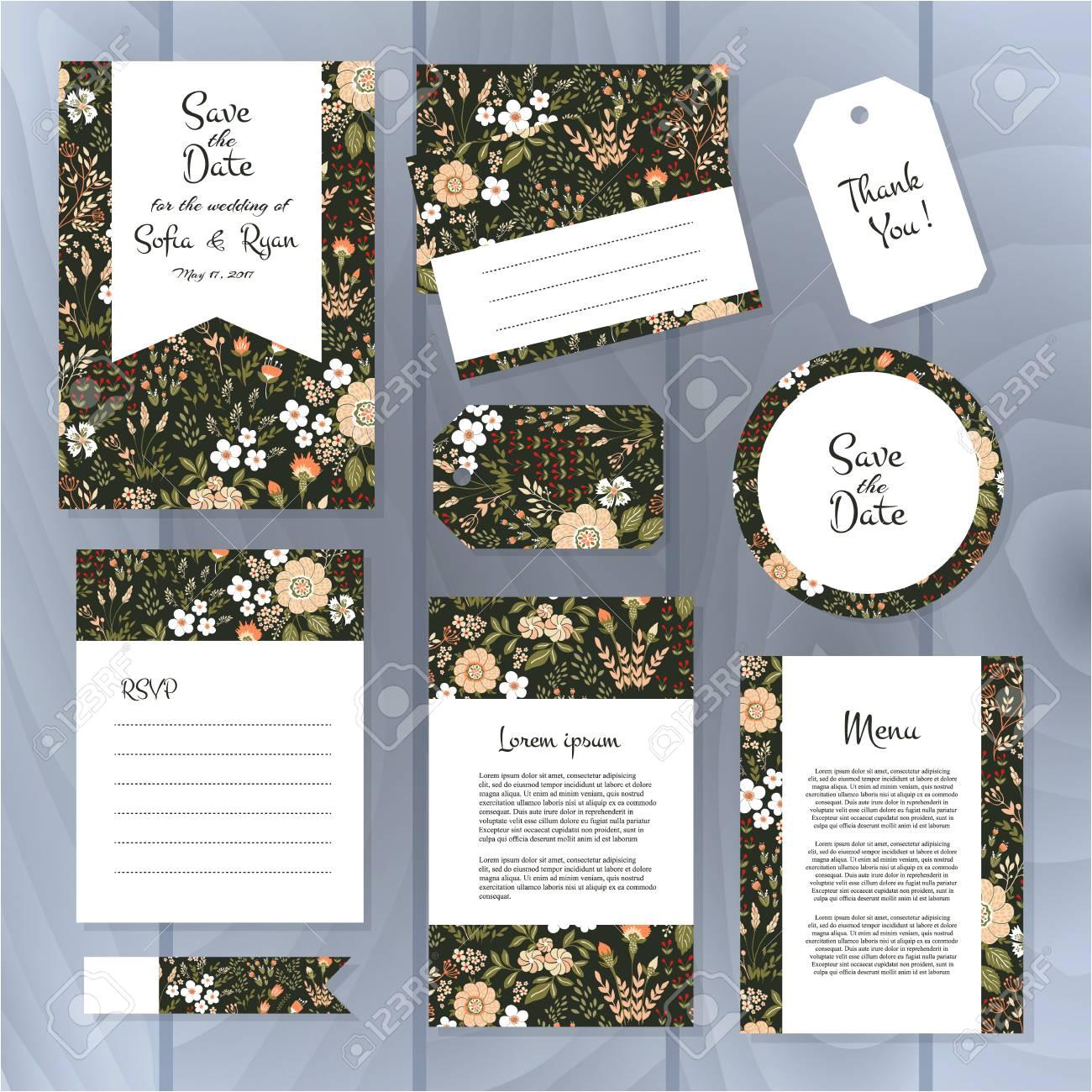 67943495 vector gentle wedding cards template with flower design wedding invitation or save the date rsvp men jpg