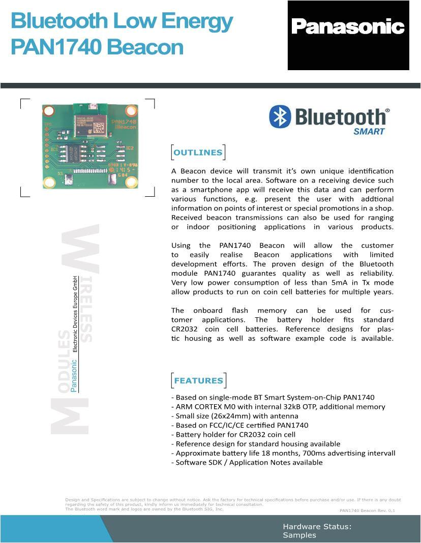 To Change Pan Card Name 101703033 Panasonic Bluetooth Module 802 15 1 Datenblatter