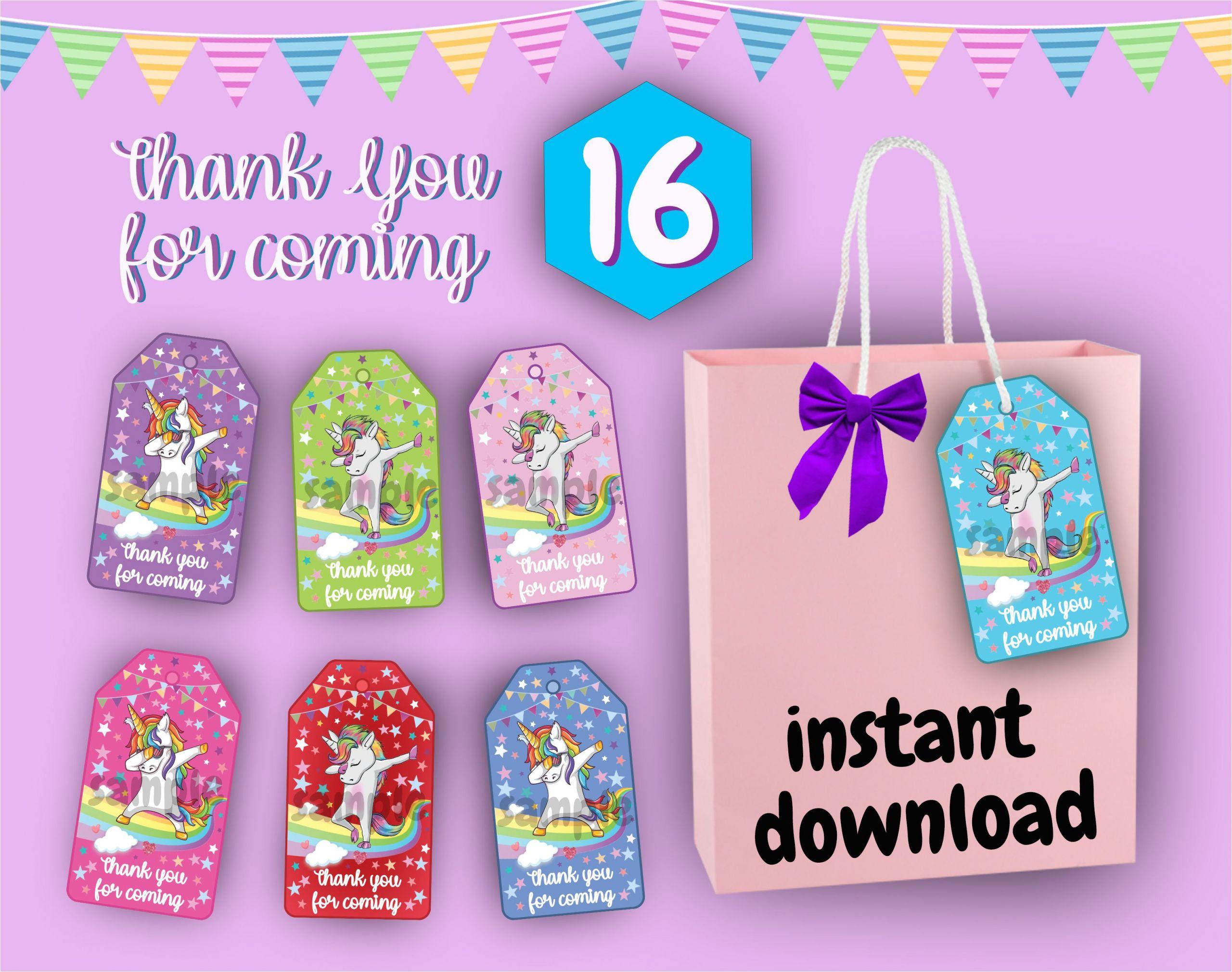 Unicorn Thank You Card Printable Unicorn Thank You Tags for Gift Bags Unicorn Thank You