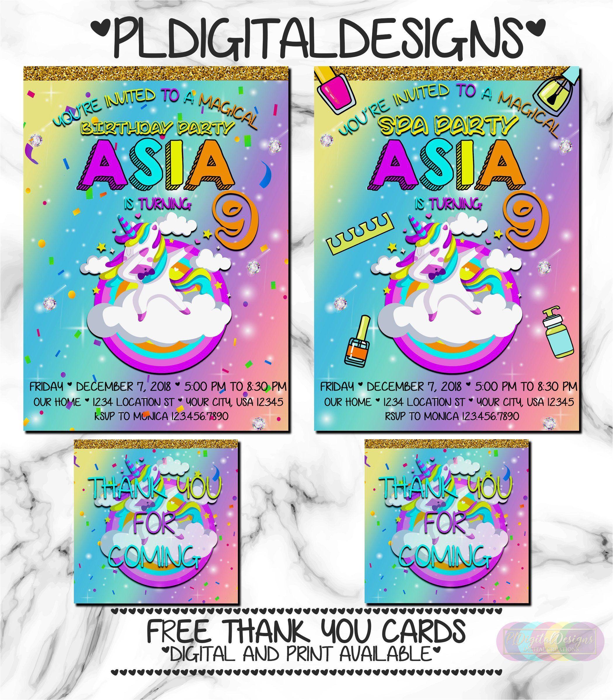 Unicorn Thank You Card Template Free Unicorn Party Invitation Unicorn Spa Party Unicorn