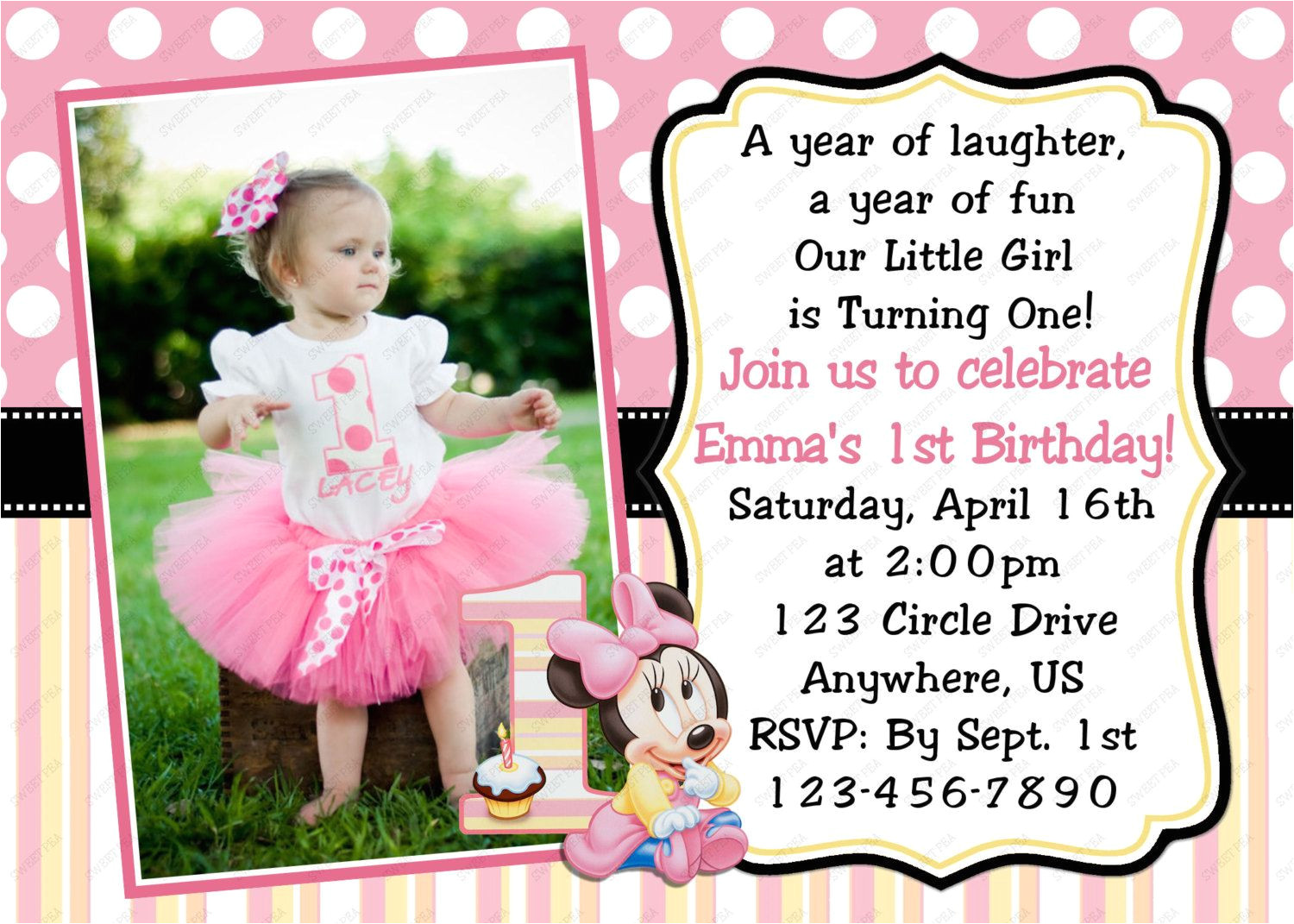 Unique First Birthday Invitation Card Minnie Mouse Invitations 1st Birthday with Images