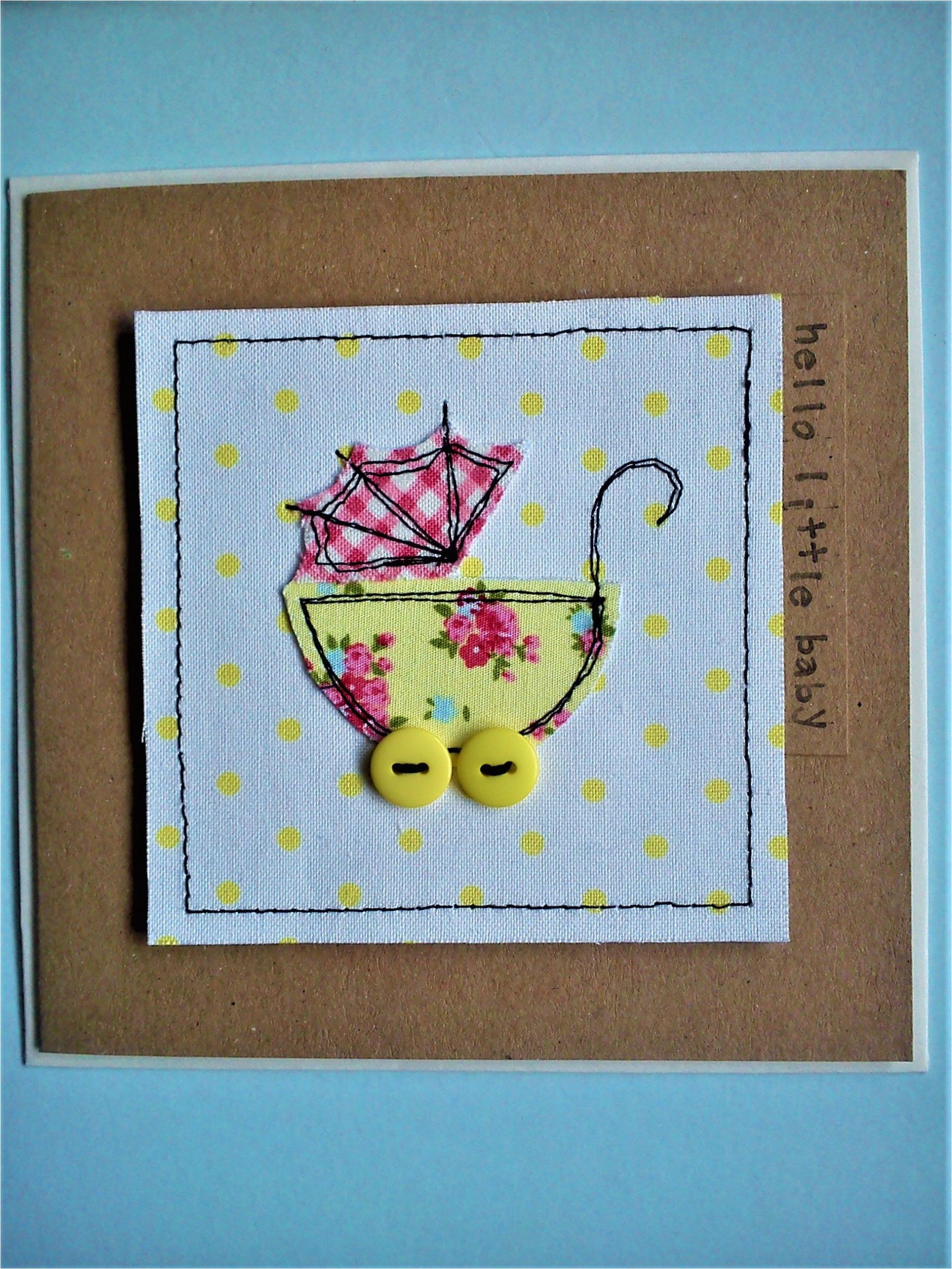 Unique New Baby Card Congrats Handmade Sewn New Baby Card Made with Pretty Fabrics and