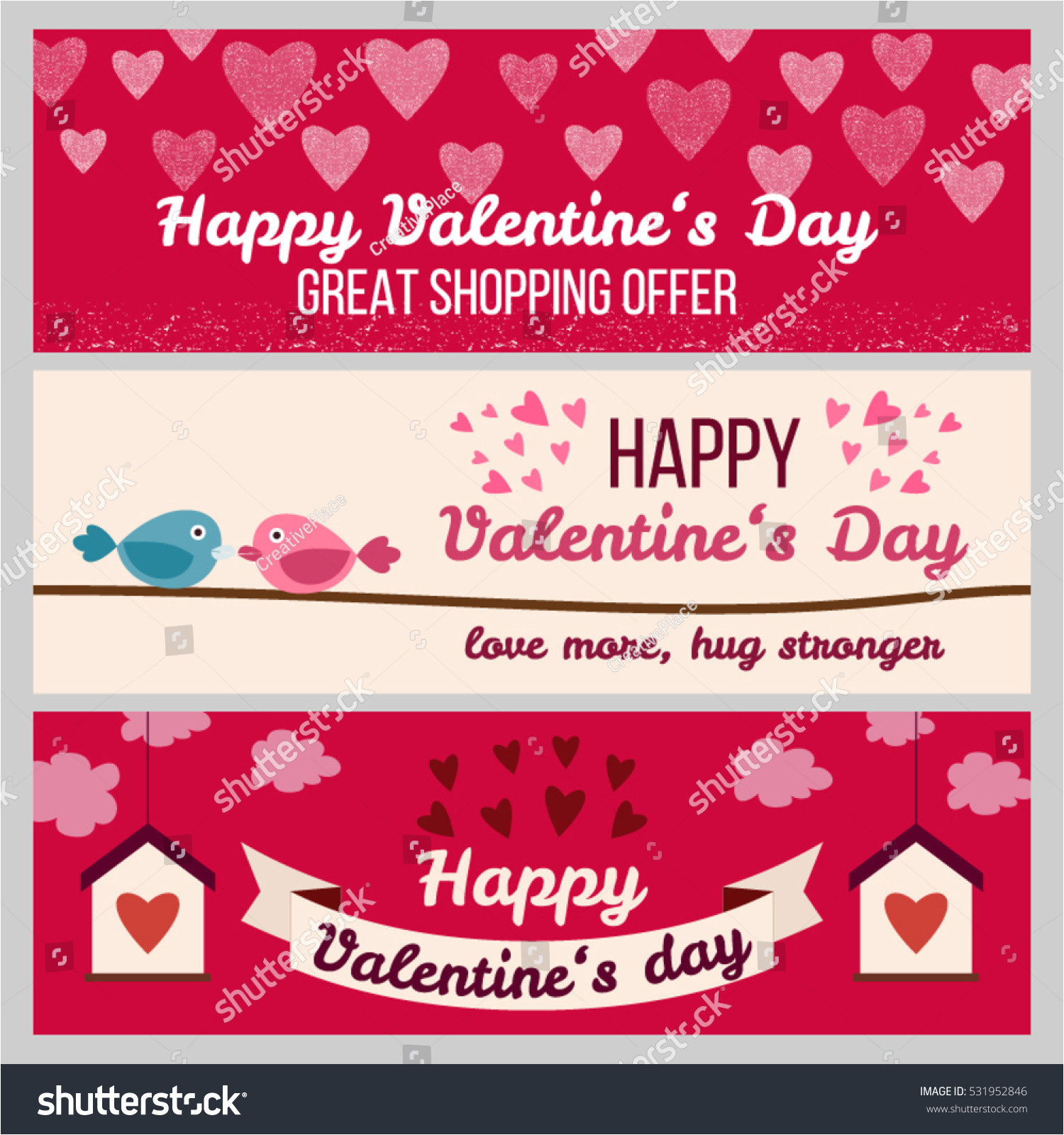 stock vector set od modern flat valentine s day greetings cards banners vouchers and sale promotion flyers cards 531952846 jpg