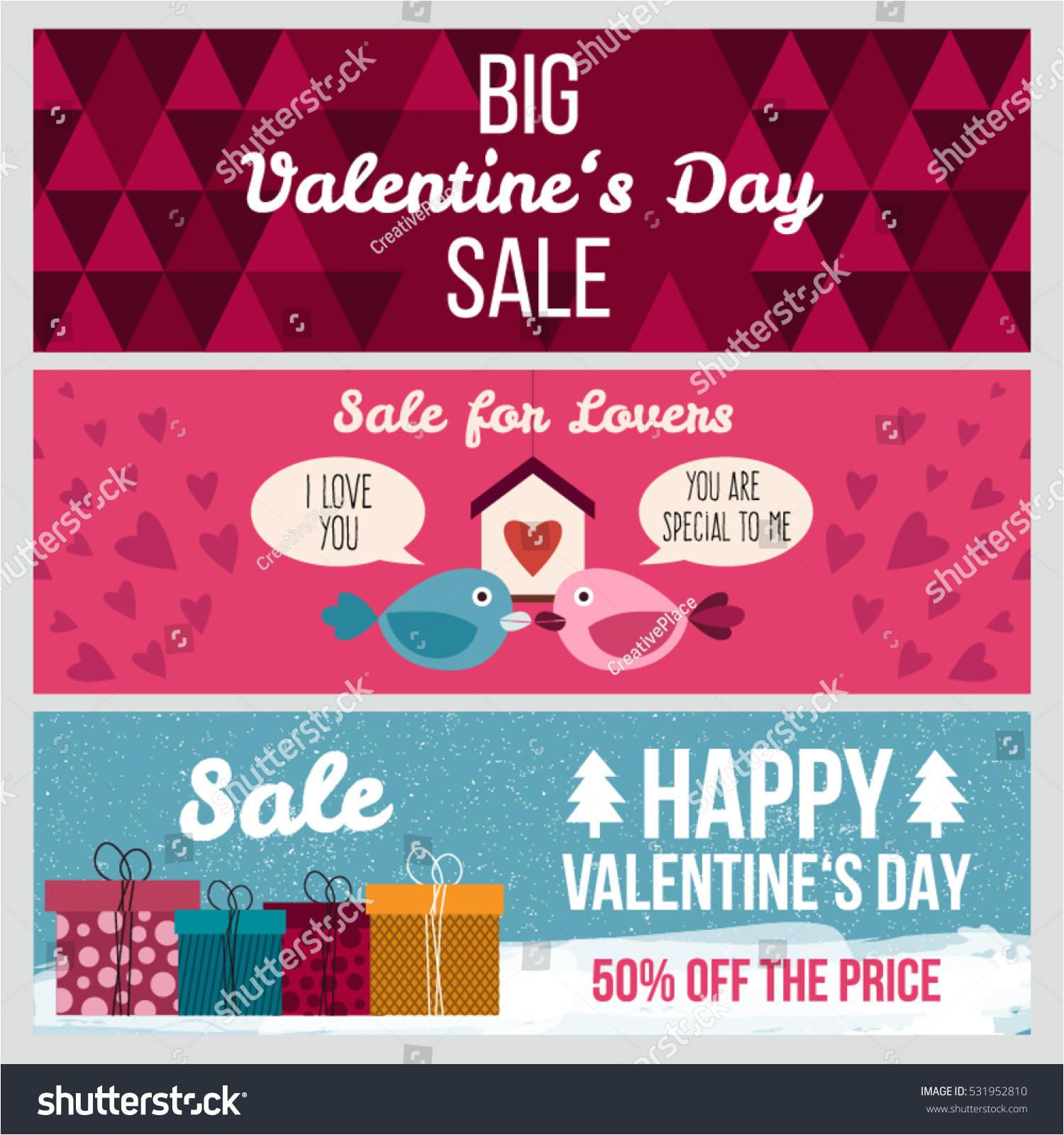stock vector set od modern flat valentine s day greetings cards banners vouchers and sale promotion flyers cards 531952810 jpg