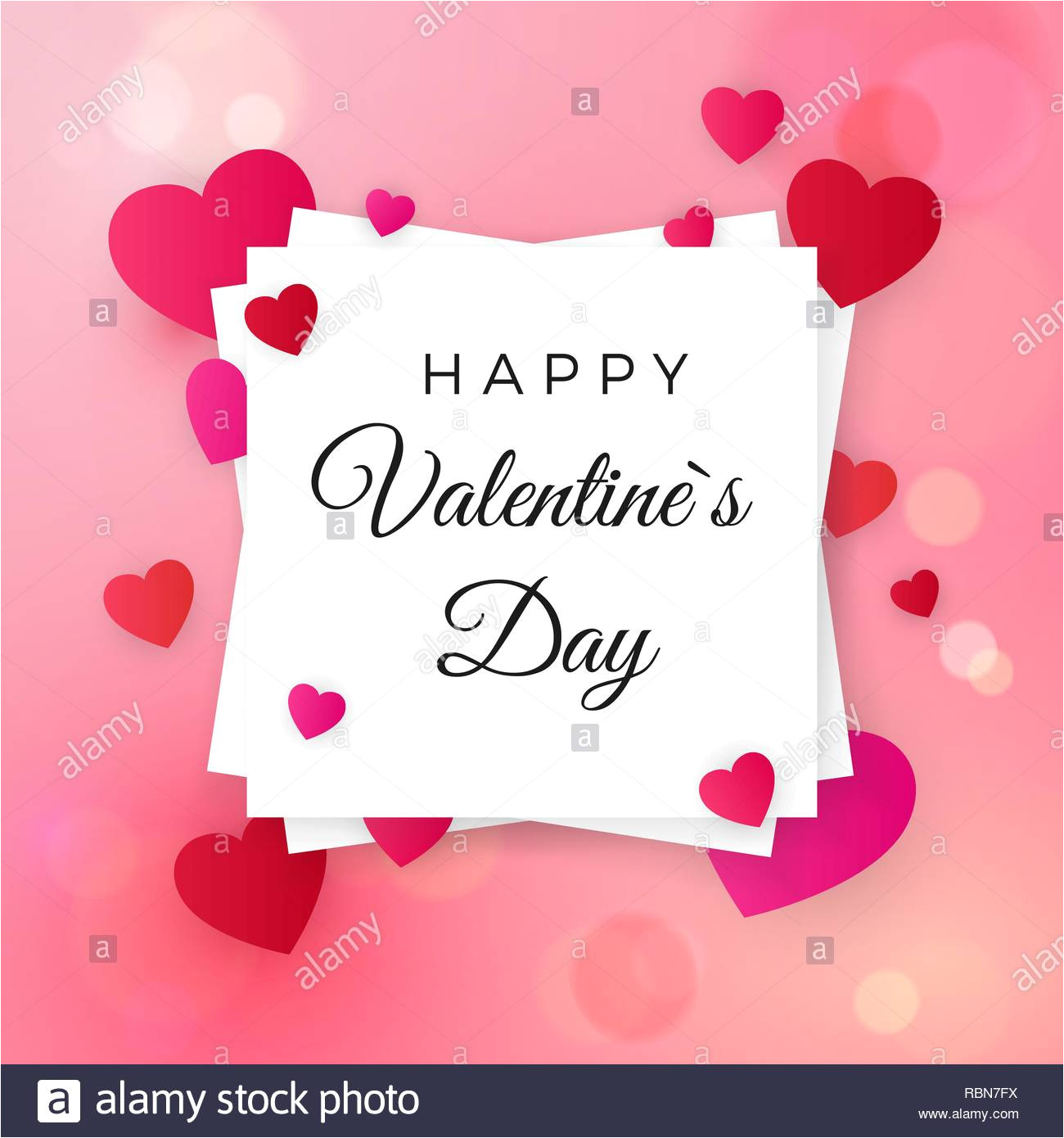 happy valentines day and wedding design elements greeting text on white label on pink background with hearts be my valentine greeting card vector i rbn7fx jpg