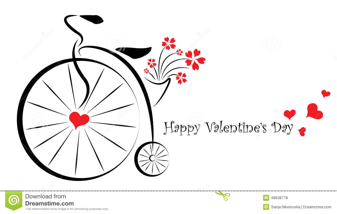 valentines day gift card her simple cute stylish vector illustration old bicycle basket full flowers 48638778 jpg