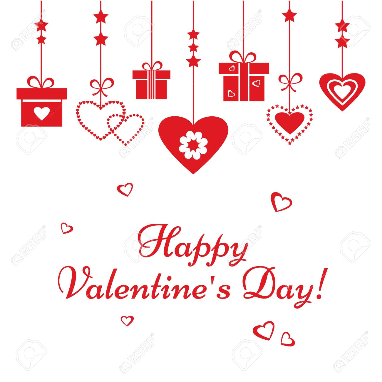 93437302 greeting card for valentine s day red hearts and gift boxes hanging vector illustration jpg