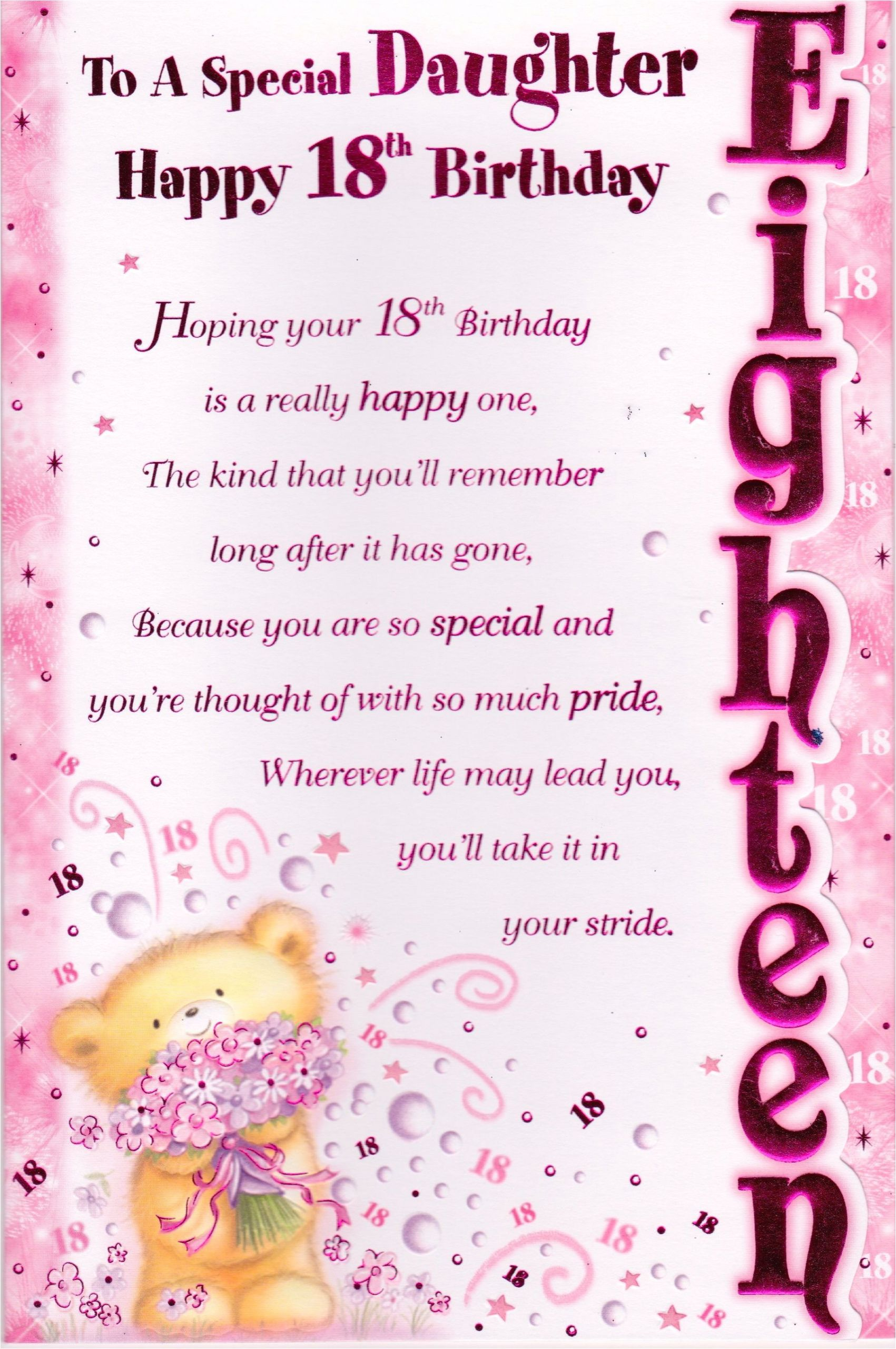 Verse for New Home Greeting Card 18th Happy Birthday Greeting Card Lovely Verse Embellished