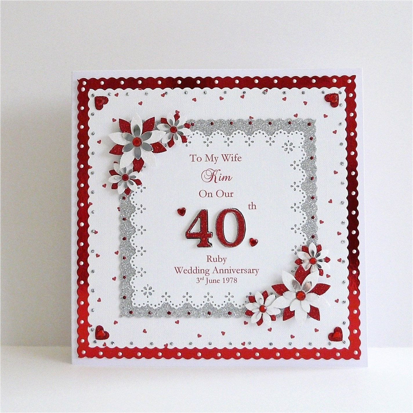 Verse for Ruby Wedding Anniversary Card 40th Ruby Wedding Anniversary Card Wife Husband Mum Dad Nan