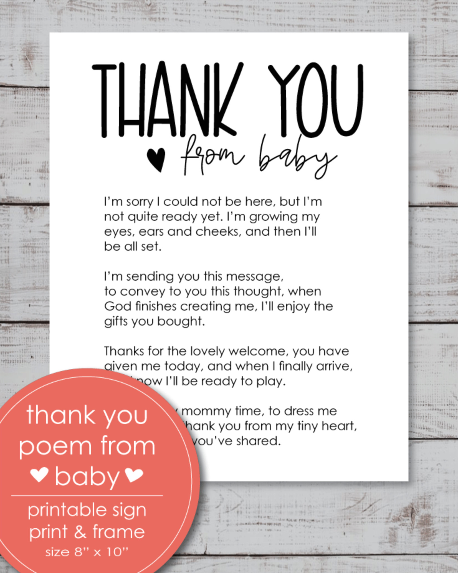 Verse for Thank You Card Printable Thank You Poem From Baby 8×10 Sign In 2020