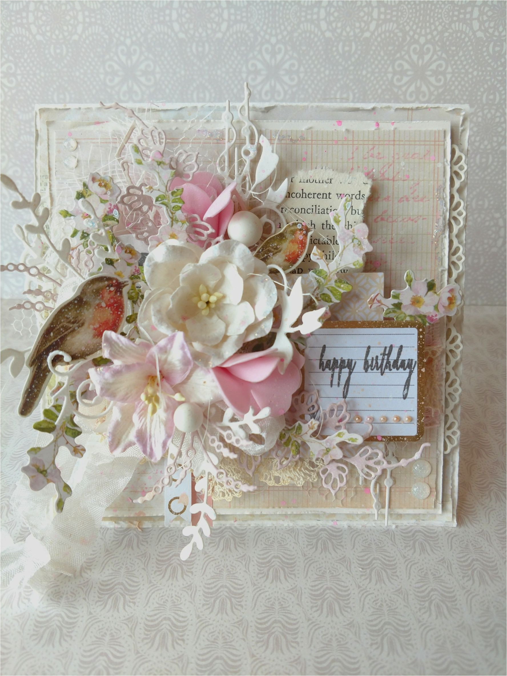 Vintage Style Birthday Card Handmade Shabby Chic Happy Birthday Card Vintage Karten