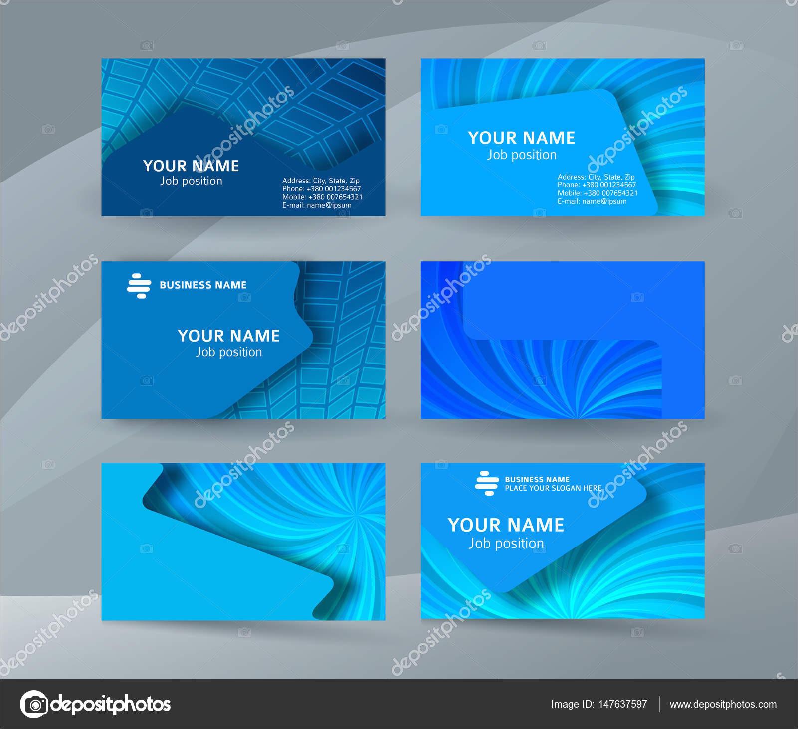 depositphotos 147637597 stock illustration business card background blue set jpg