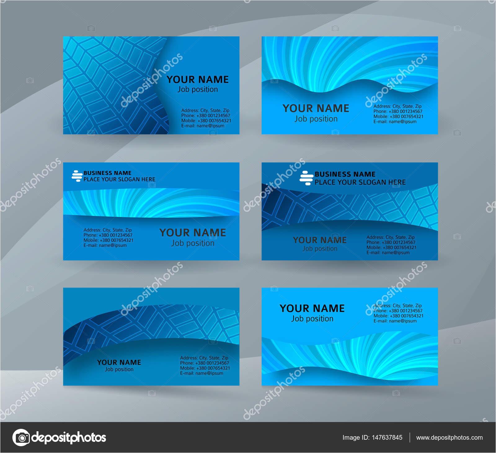 depositphotos 147637845 stock illustration business card background blue set jpg