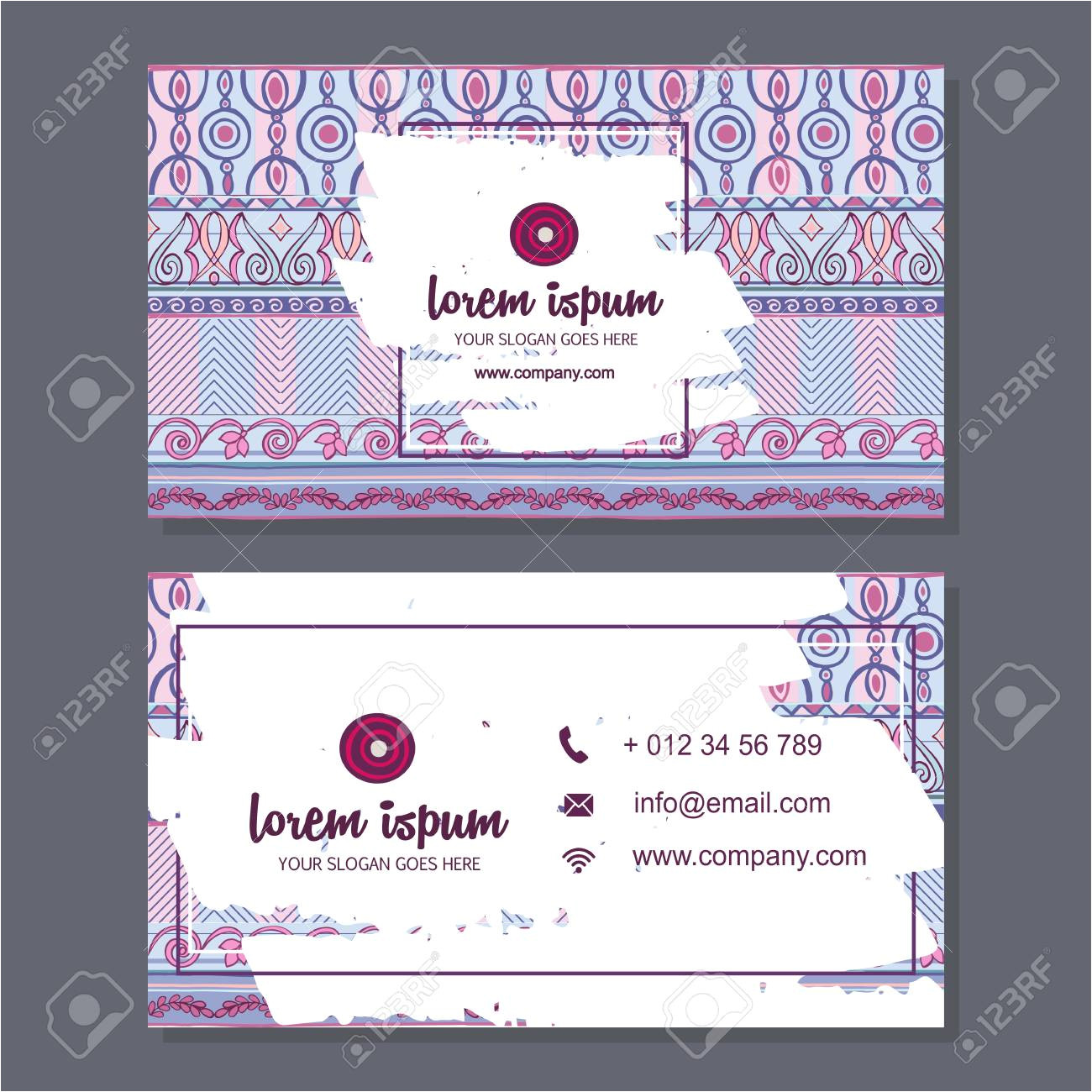 59961723 business card or visiting card template with boho style pattern background corporate identity design jpg