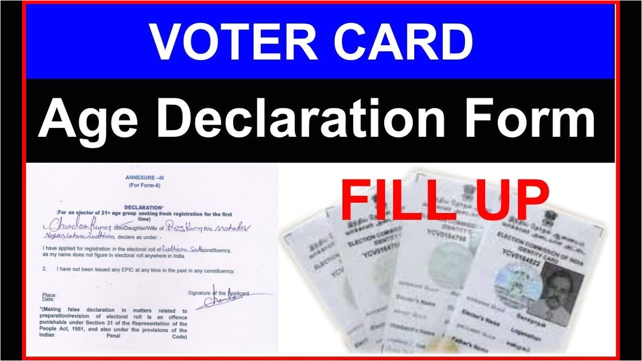 Voter Card Name Correction form Voter Card Age Declaration form Fill Up In Hindi Ii Age A A A A A A A A A A A A A A A A A A A A A A A