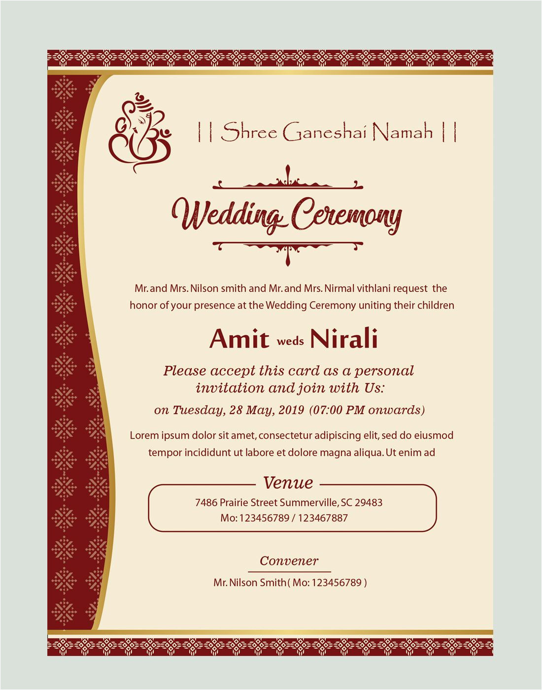 Wedding Card format In English Free Kankotri Card Template with Images Printable