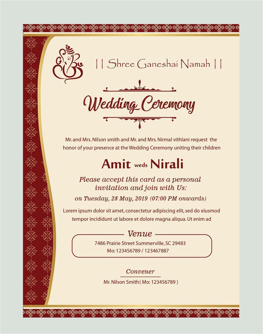 wedding card format in marathi  williamsonga