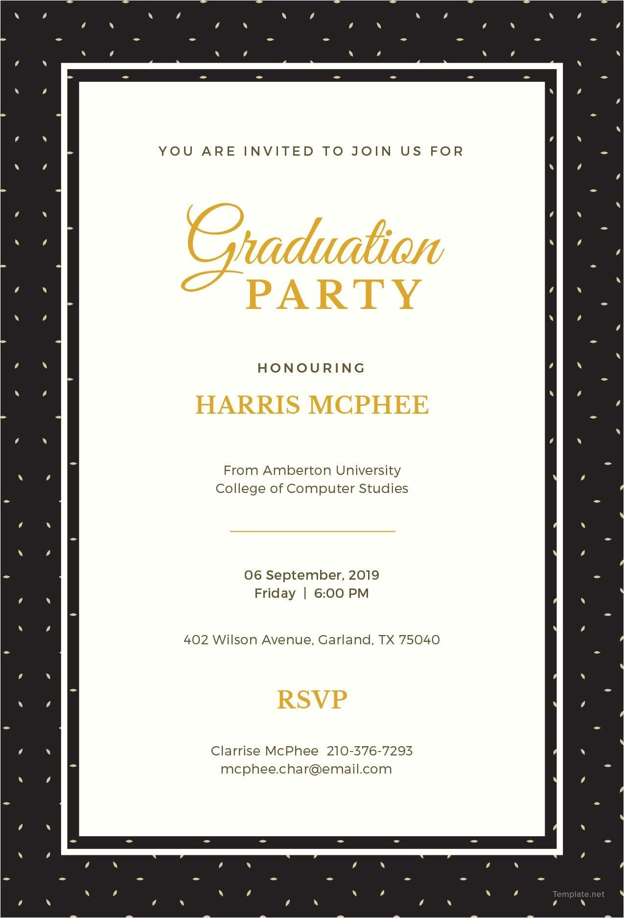 Wedding Card Name Sticker format Word Diy Graduation Invitations In 2020 with Images
