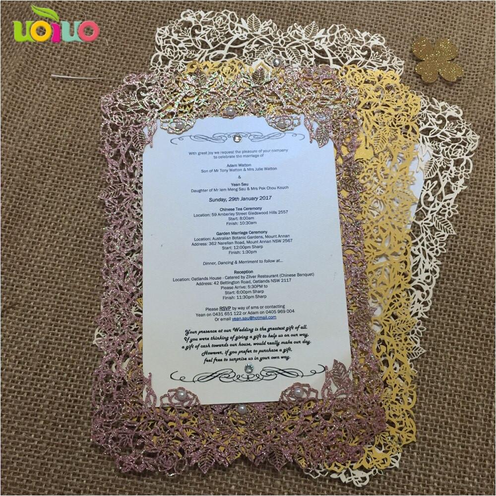 diy customzied 50pcs inc34 laser cut wedding invitations card wedding rose purple pearl paper invitation card jpg