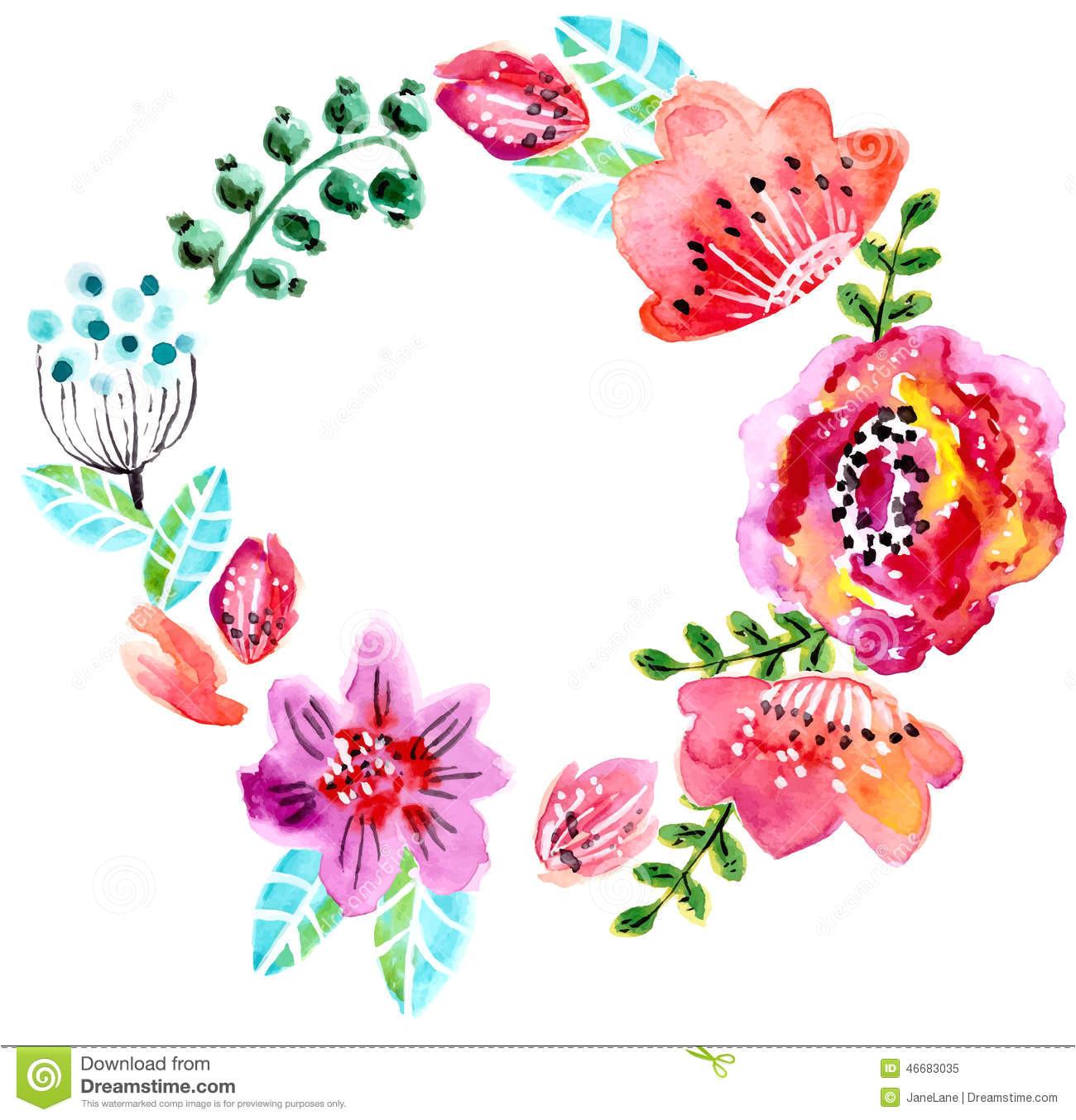 watercolor floral frame wedding invitation save date illustration 46683035 jpg