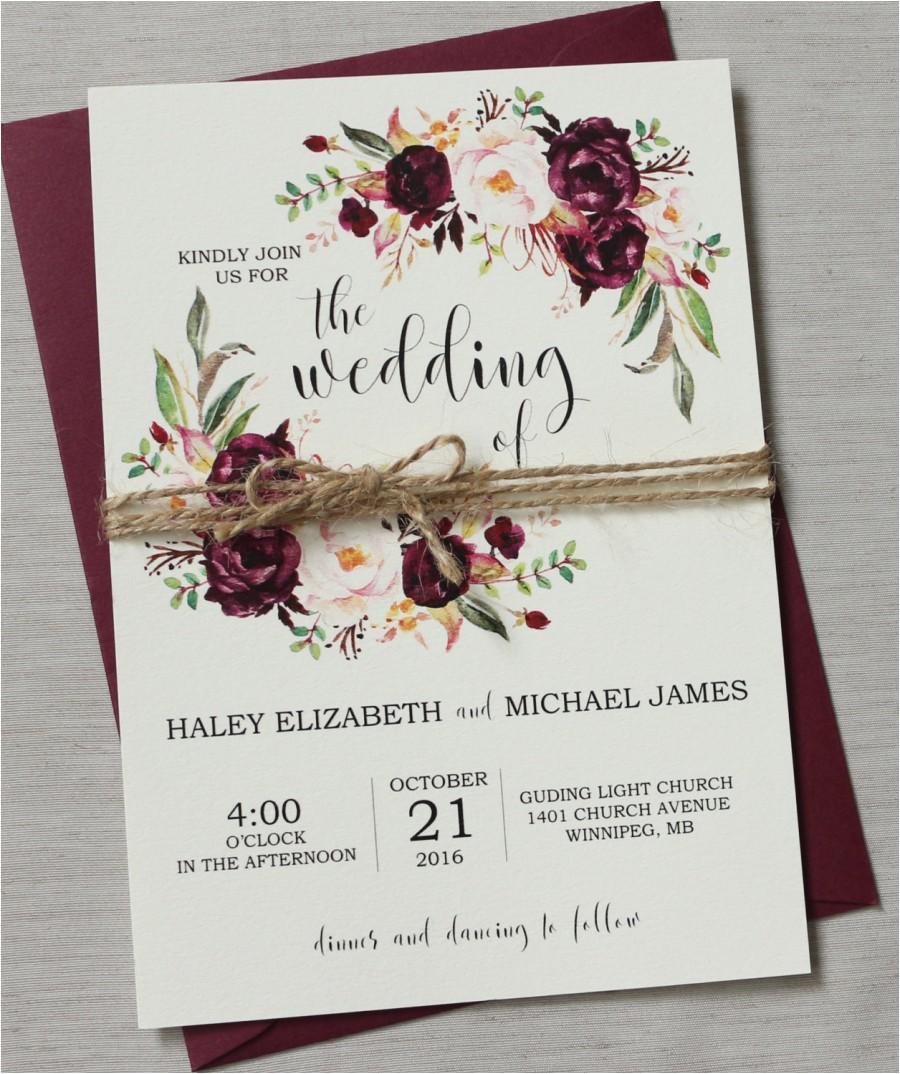 marsala wedding invitation printable suite burgundy pink bohemian wedding invite set rustic floral wedding invitation boho chic wedding jpg