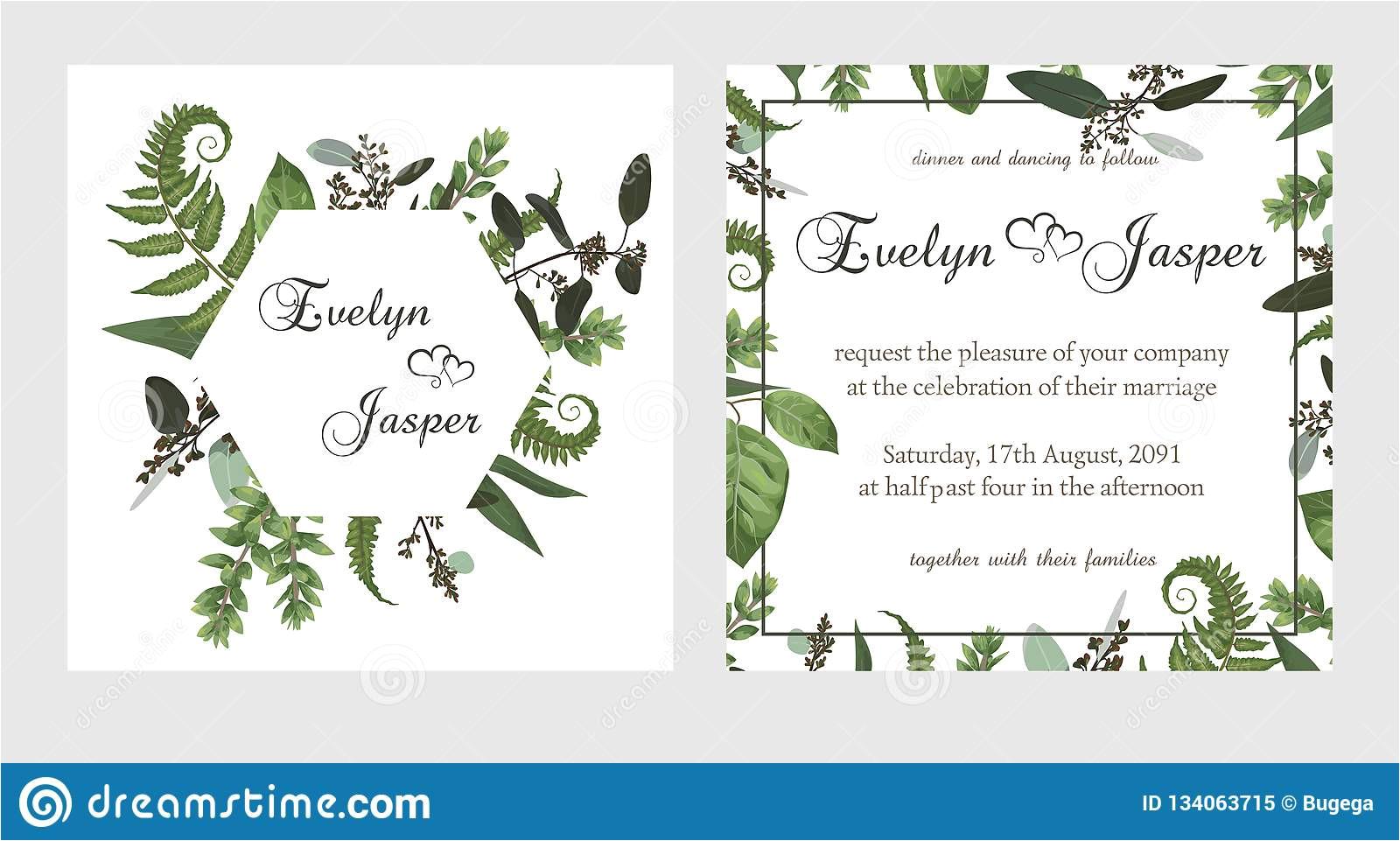 set wedding invitation greeting card save date banner vintage square round frame green fern leaf boxwo od eucalyptus 134063715 jpg