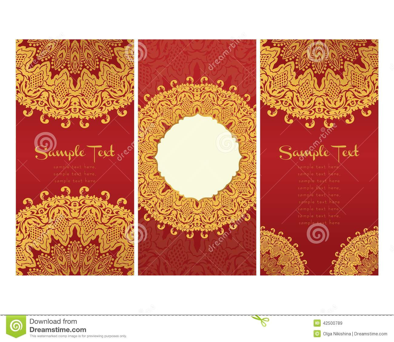 greeting cards east style red background floral motifs light gold persian template design wedding invitation 42500789 jpg