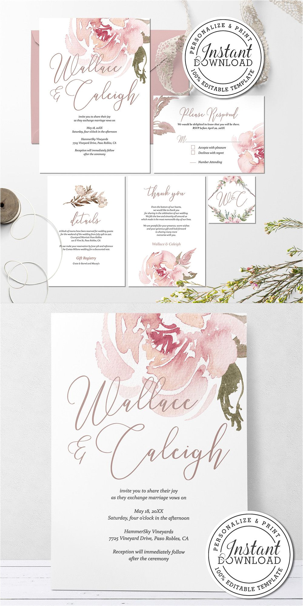 Wedding Invitation Card with Name Editing Blush Floral Pink Wedding Invitation Template Diy Instant