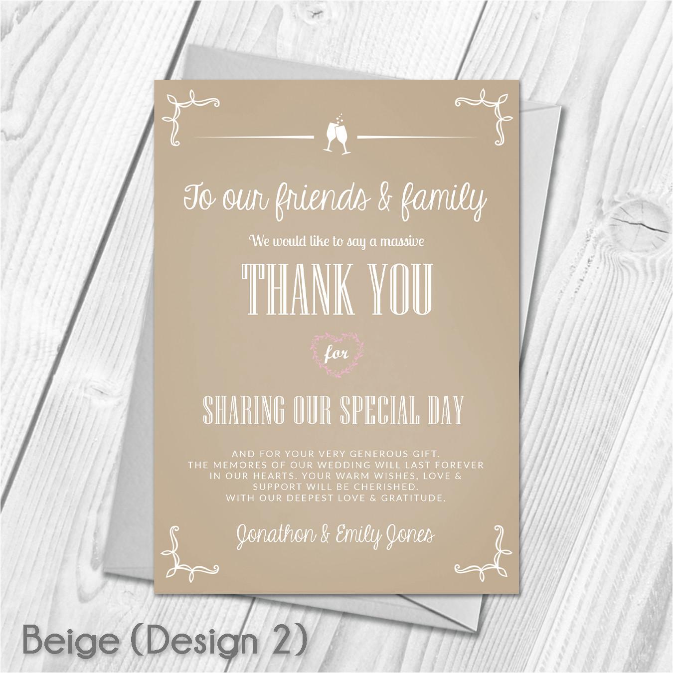 Wedding Thank You Card Wording Uk Premium Personalised Wedding Thank You Cards Wedding Guest