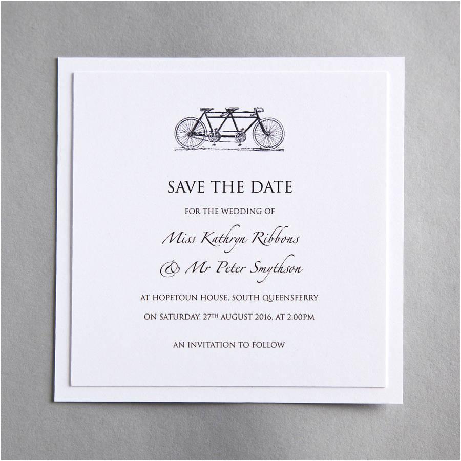 original tandem bicycle wedding invitation jpg