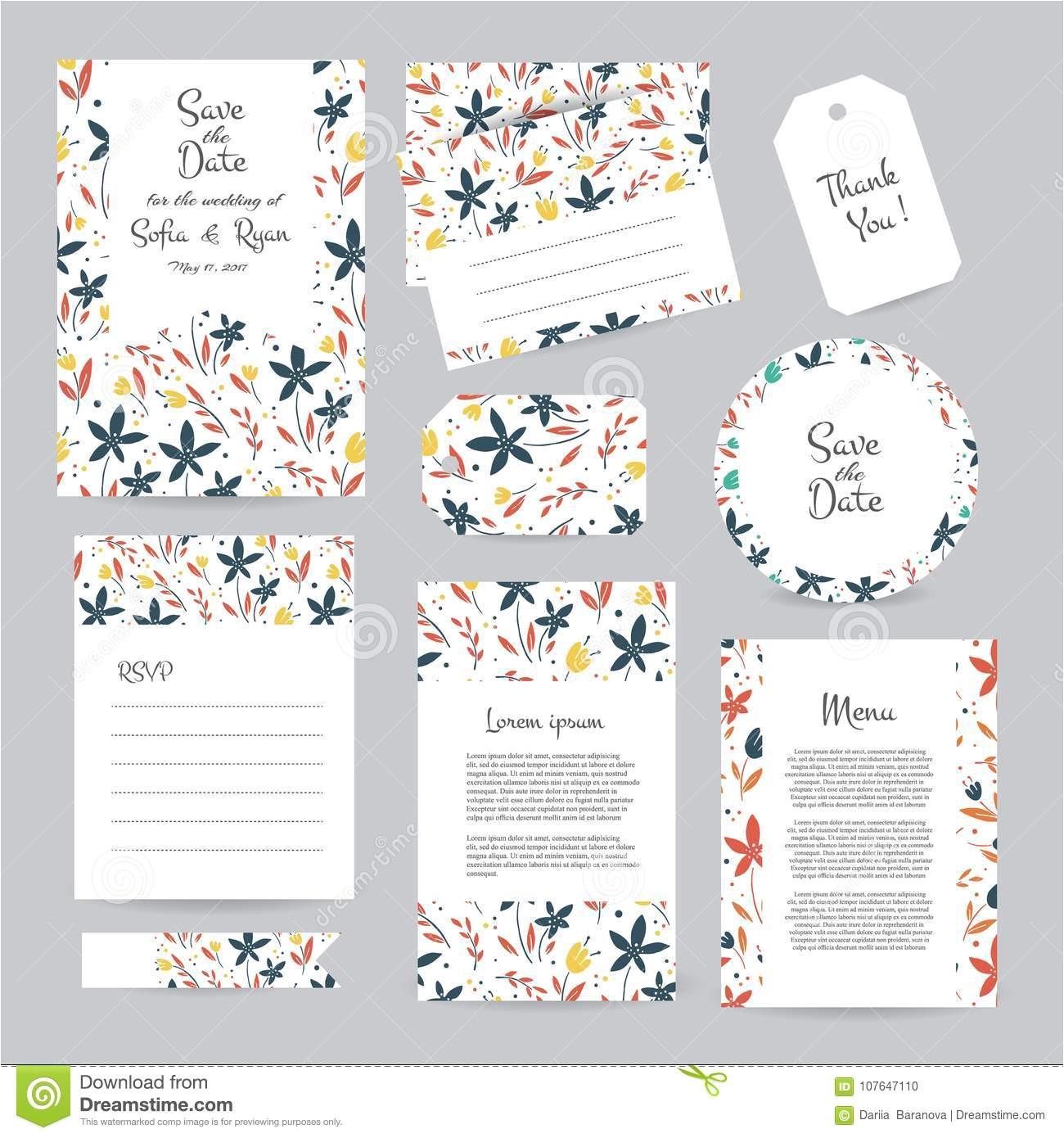 vector gentle wedding cards template flower design invitation save date rsvp menu thank you card bridal set 107647110 jpg