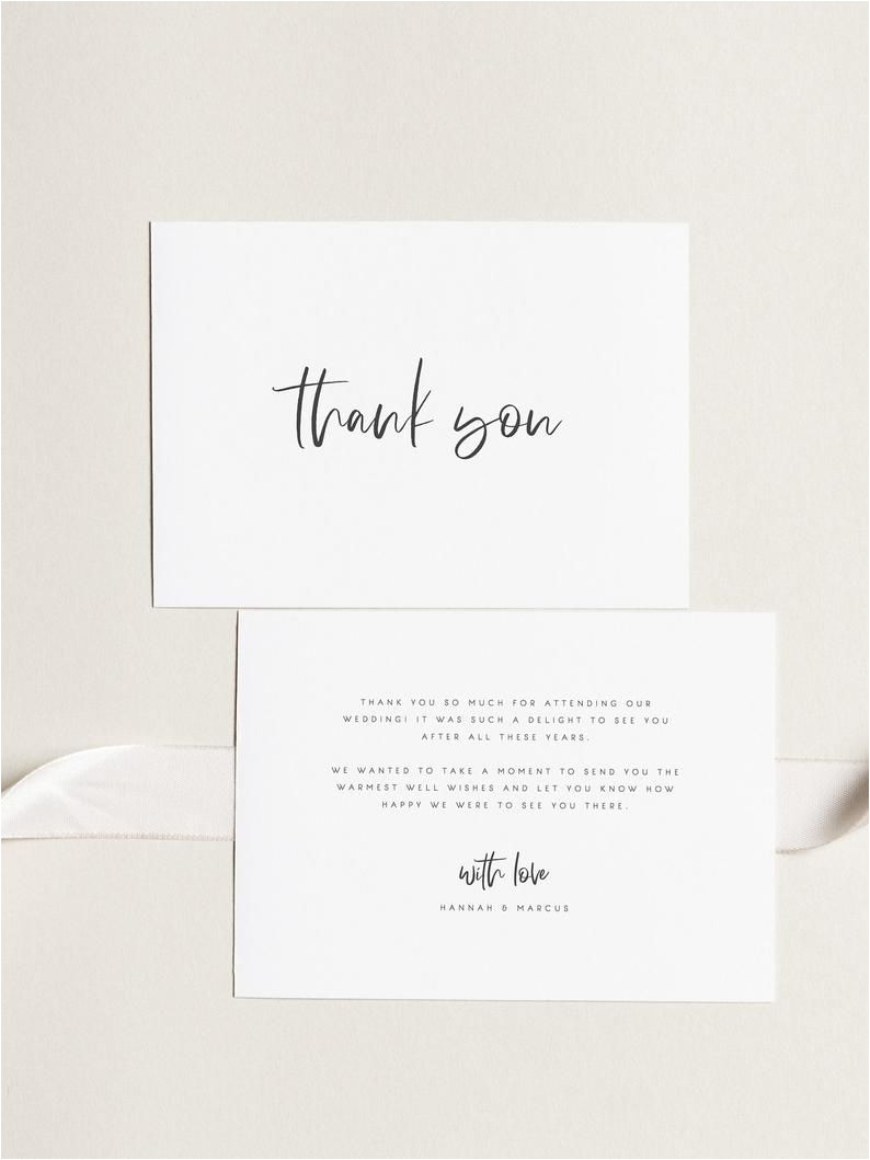 What to Put In A Thank You Card Wedding Printable Thank You Card Wedding Thank You Cards Instant