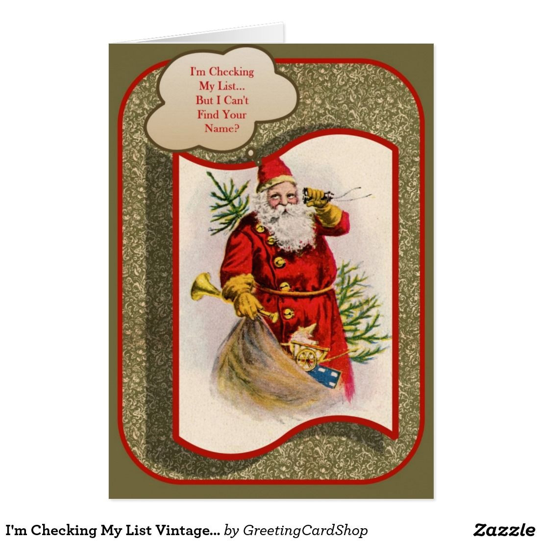 What to Say In A Christmas Card I M Checking My List Vintage Christmas Card Zazzle Com