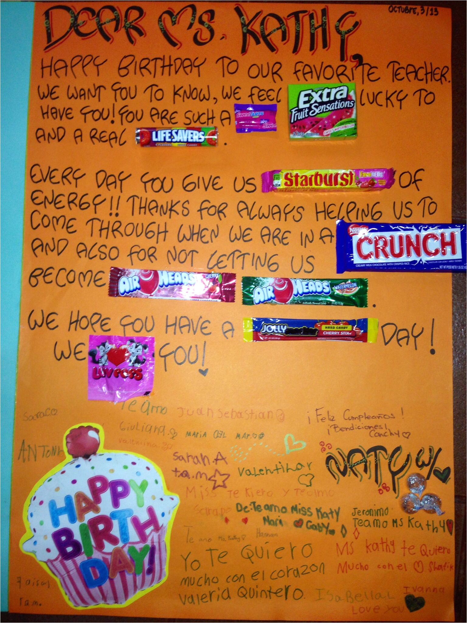 What to Write In A Happy Birthday Card Happy Birthday to Our Favorite Teacher Awesome Candy