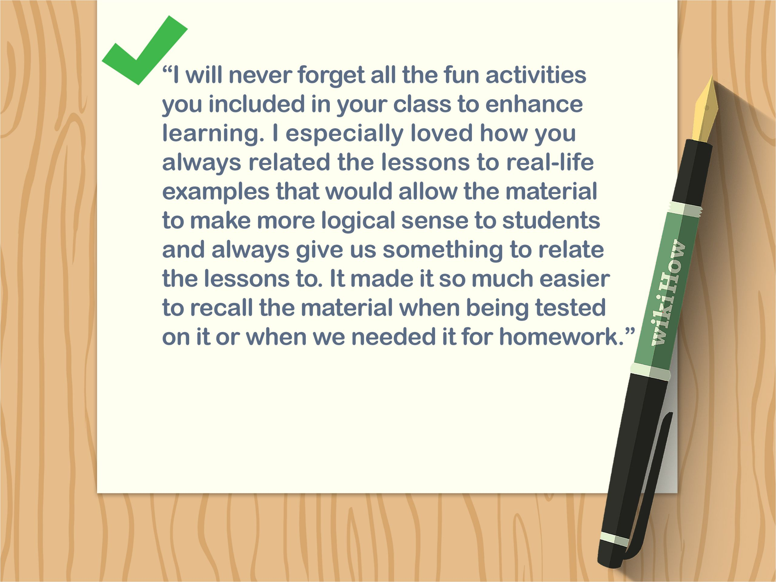 What to Write In A Thank You Card 4 Ways to Write A Thank You Note to A Teacher Wikihow