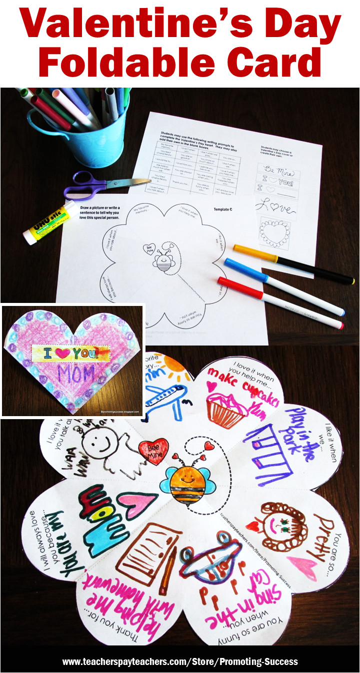 What to Write In A Valentine Card Foldable Valentine S Day Card for Students Valentines Day
