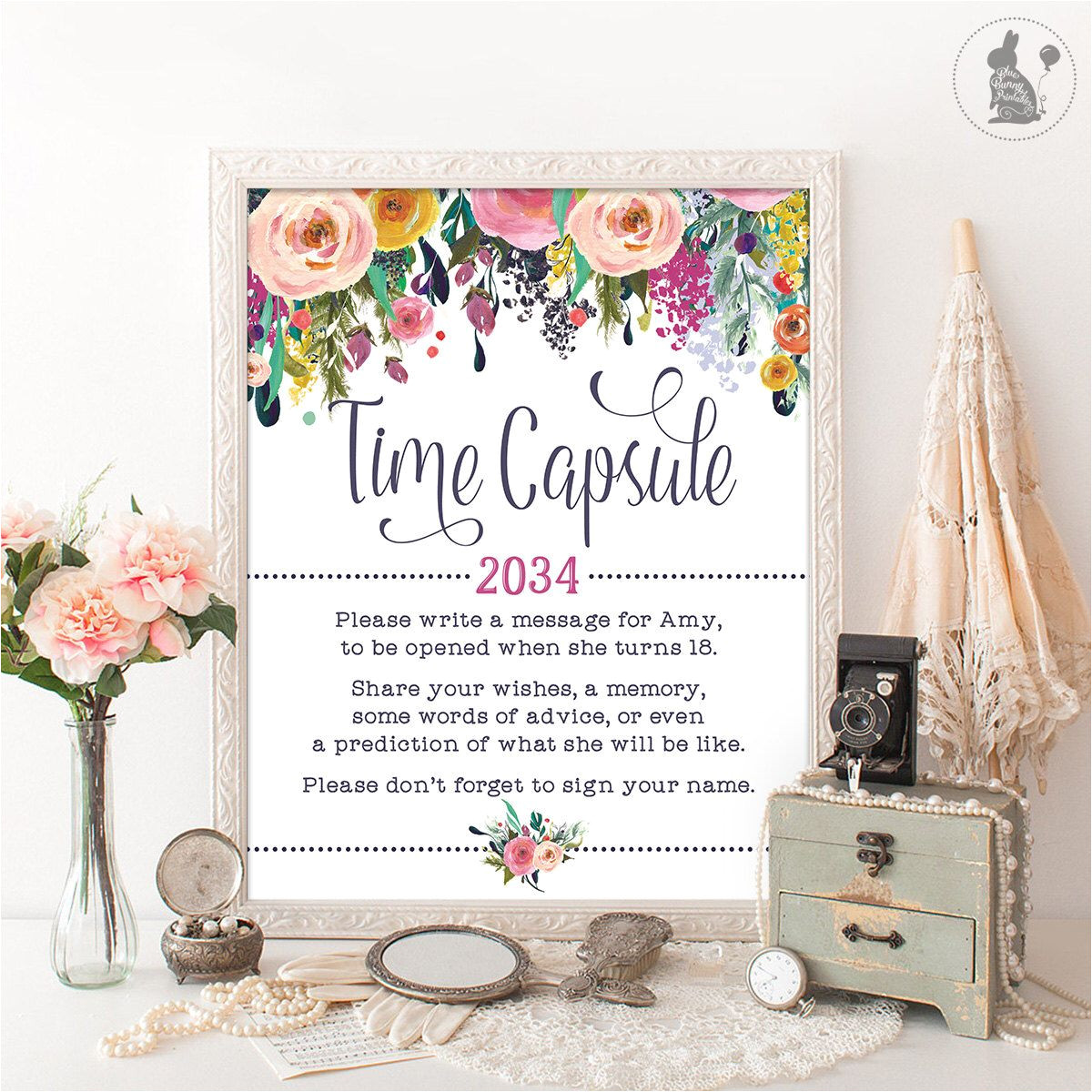 What to Write On Flower Card for New Baby Time Capsule Floral Baby Shower Table Sign Decoration Girls